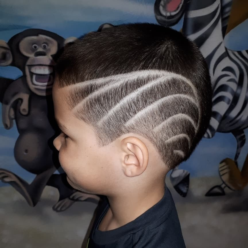 Undercut Design with Lines for Toddler Boys - left side view