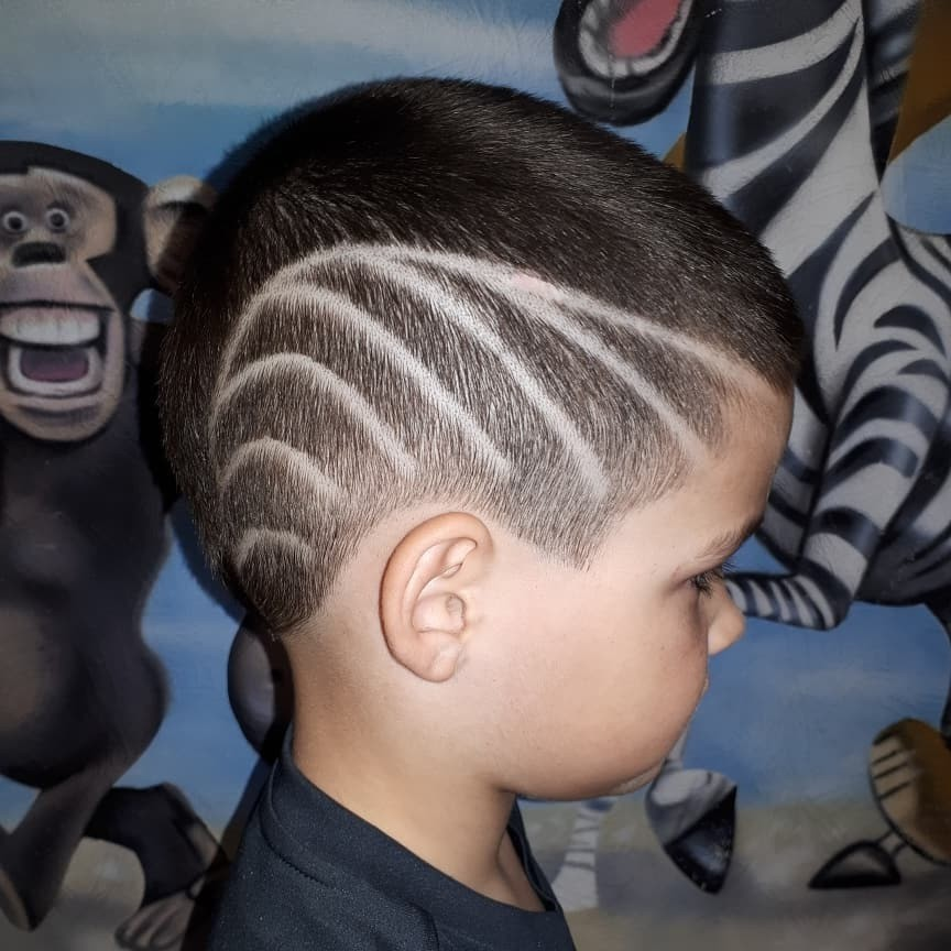 Undercut Design with Lines for Toddler Boys - right side view