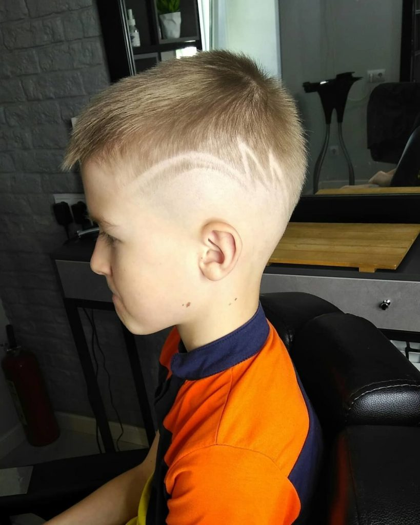 Undercut Design with Long Zig Zag Line for Kids - left side view