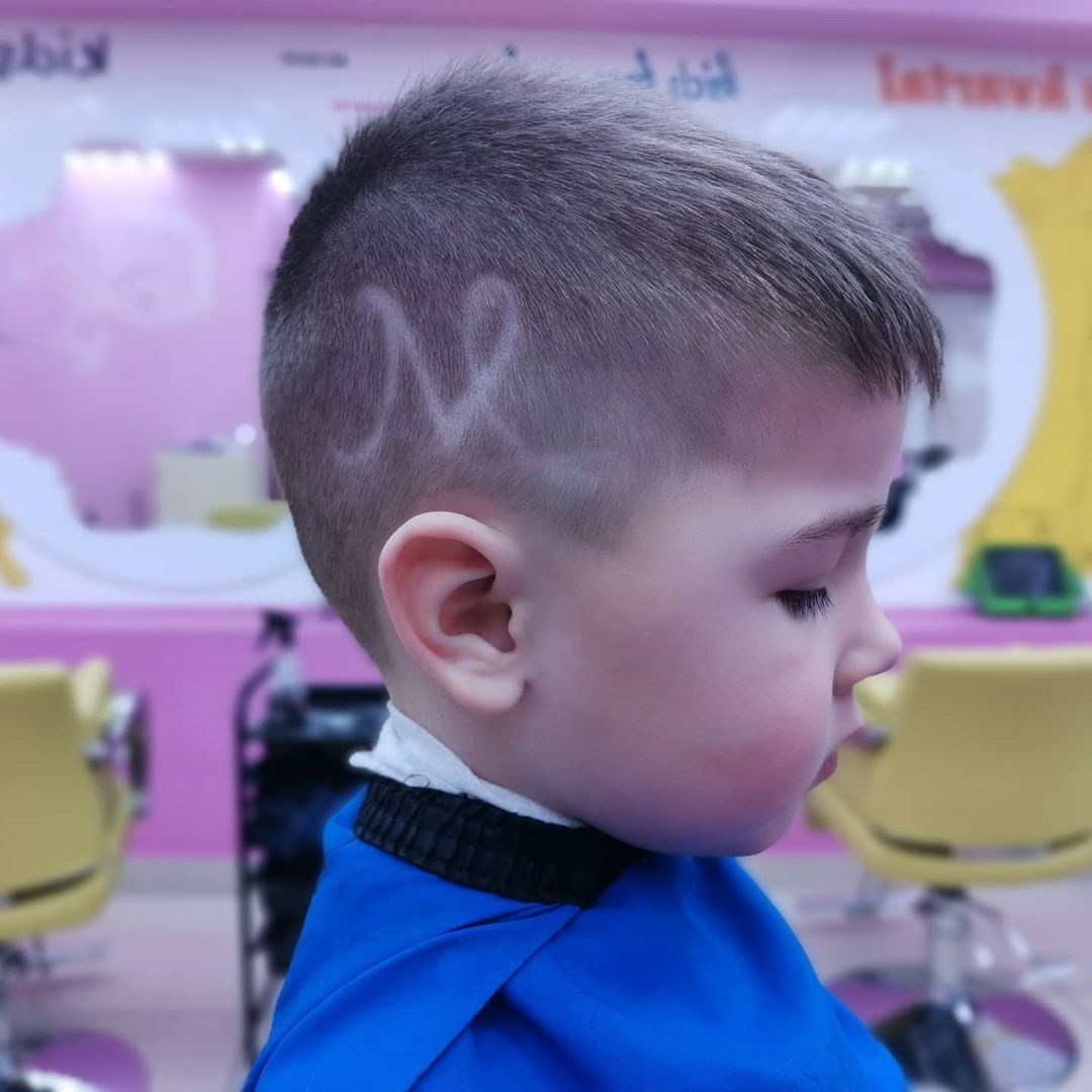 Undercut Haircut with Fringe and Letter M for Toddler Boys