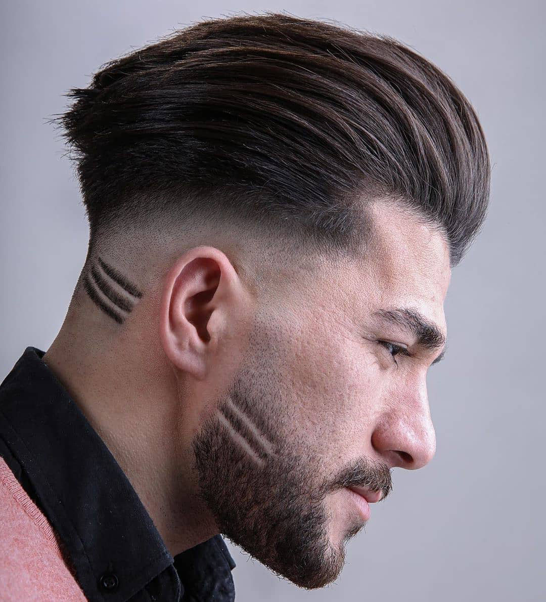 Undercut Quiff Haircut with Skin Fade and Mirror Lines