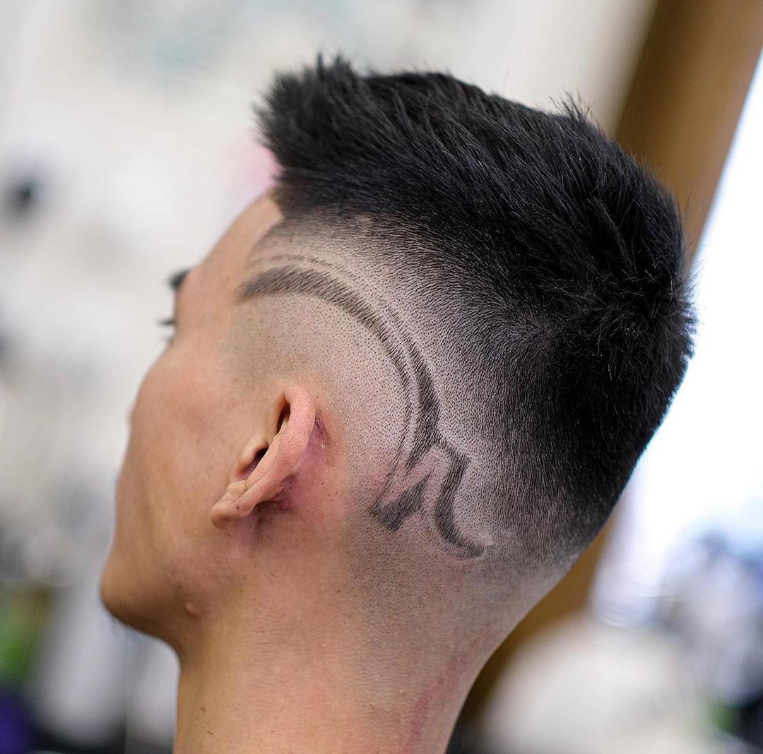 Asian Fohawk Haircut with Hair Design
