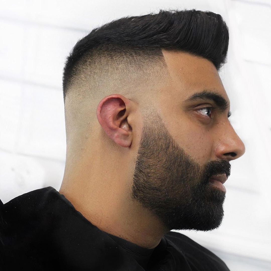 Bald Fade + Black Hair