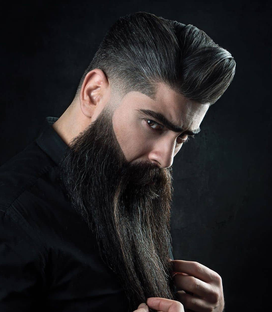 Burst Taper Fade Haircut with Long Beard for Handsome Men
