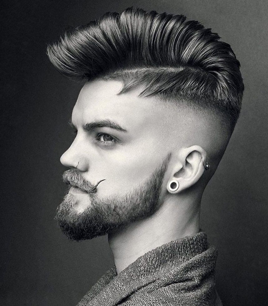 Comb Over Cut with Beard and Mustache
