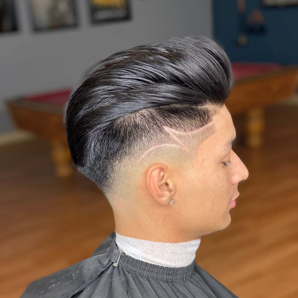 Comb Over Haircut with Long Hair and Design