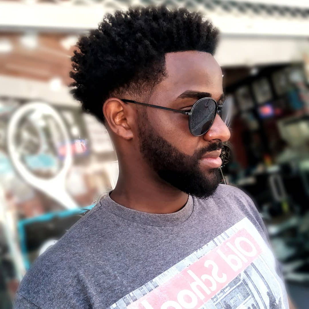 Low Fade Afro Haircut for Men