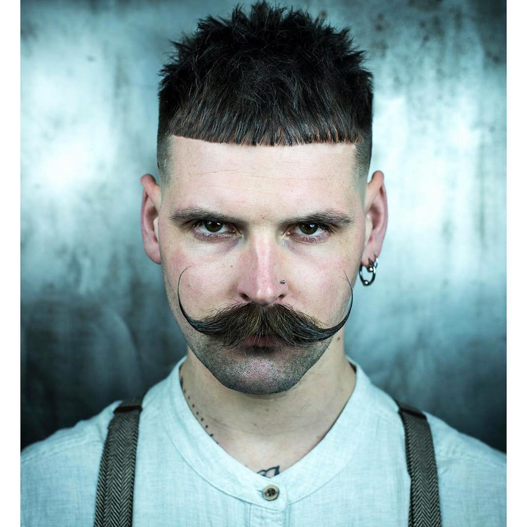 Mens Taper Fade Haircut with Moustache