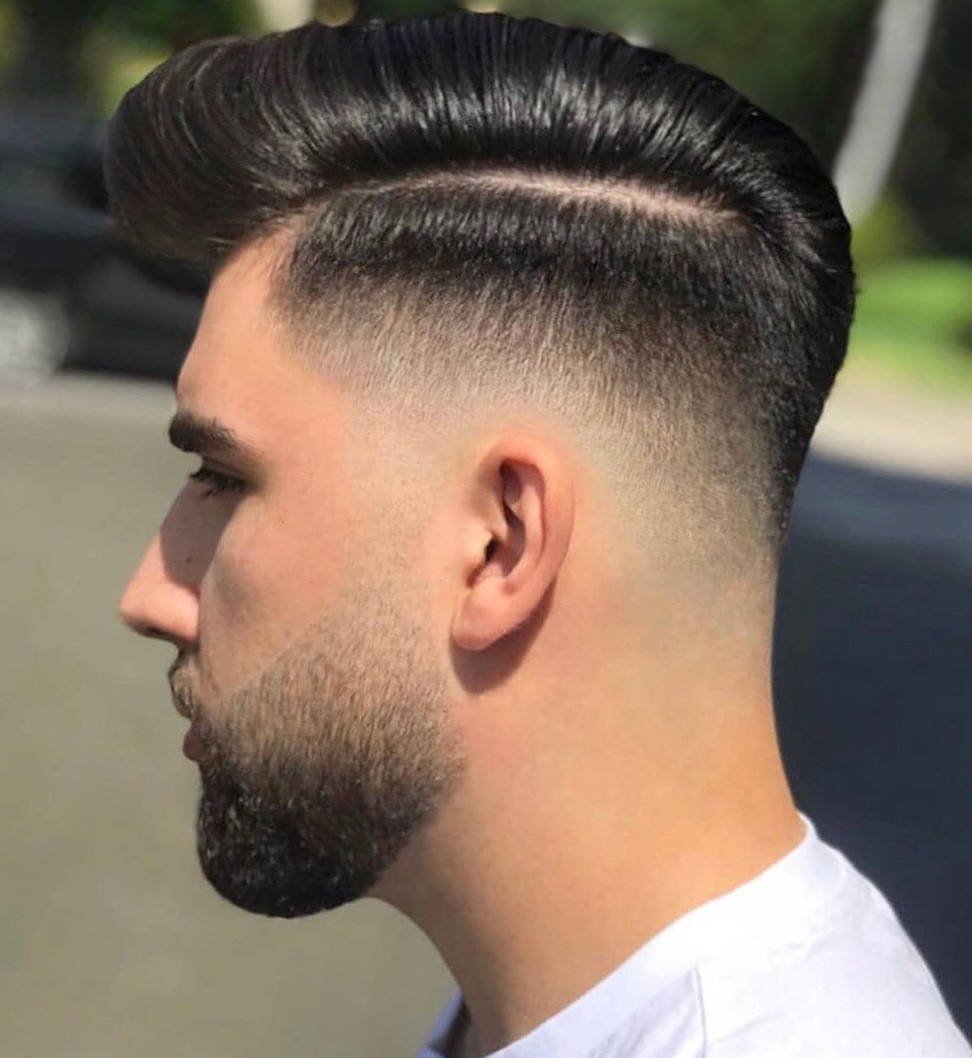 Mid Fade Comb Over Haircut
