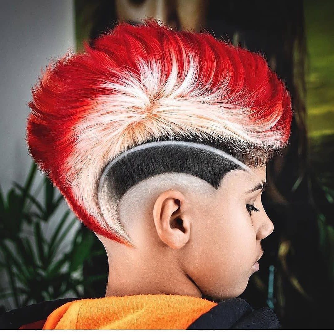 Mohawk Haircut with Hair Color Design for Boys