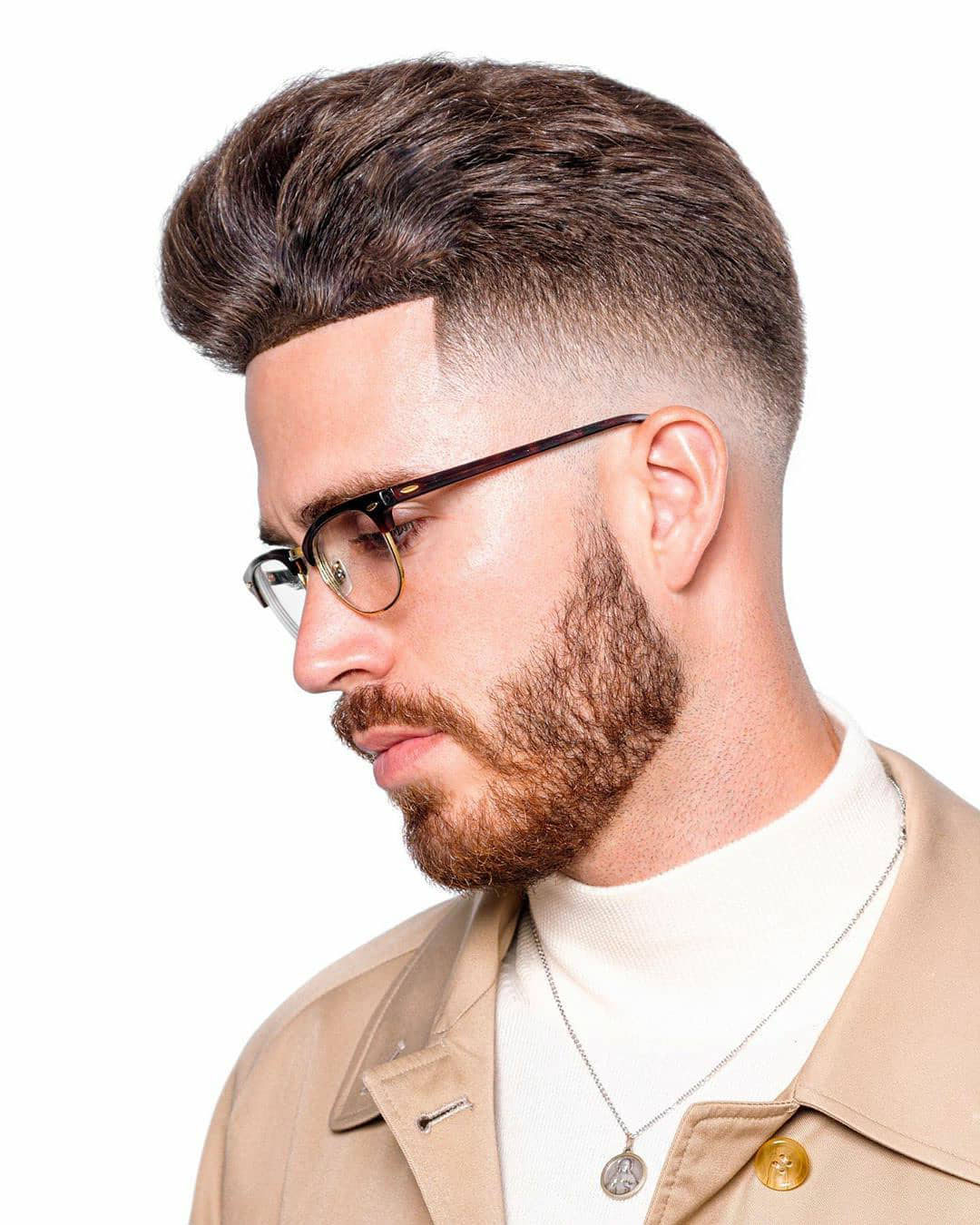 Pompadour Hairstyle with Full Beard