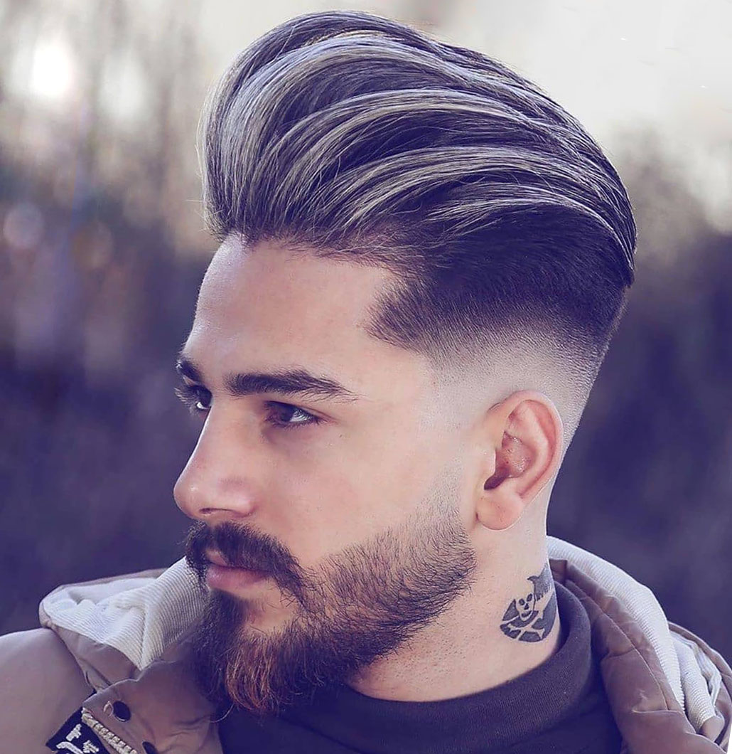 Pompadour Taper Fade Haircut for Males