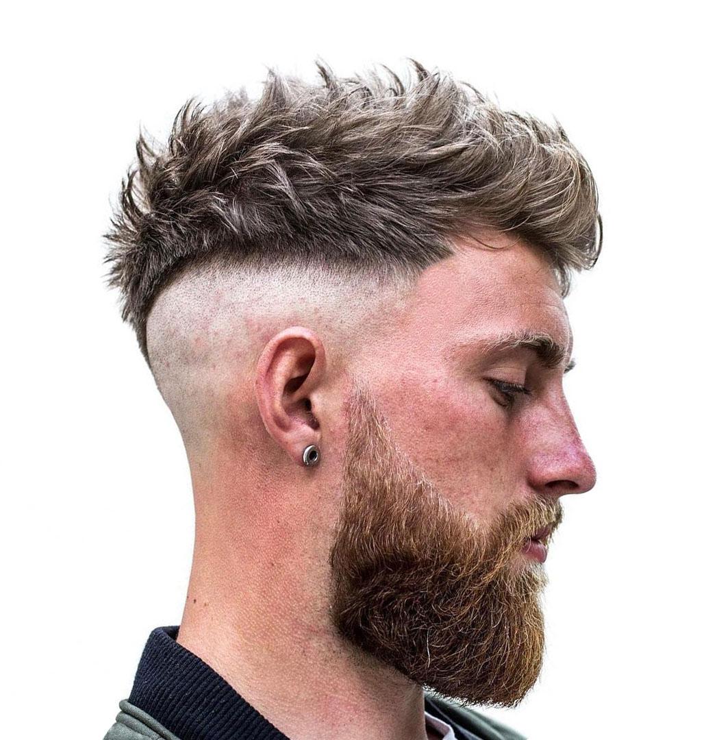 Spiky Top Undercut Haircut with Full Beard for Men