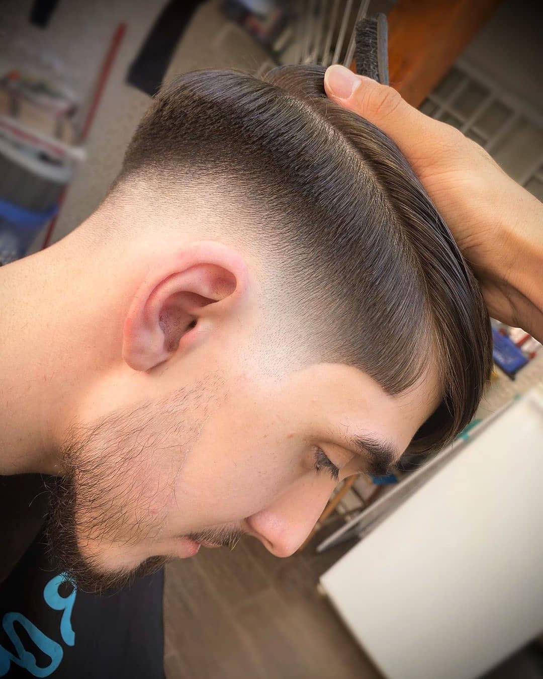 Taper Fade + Straight Hair Hairstyle