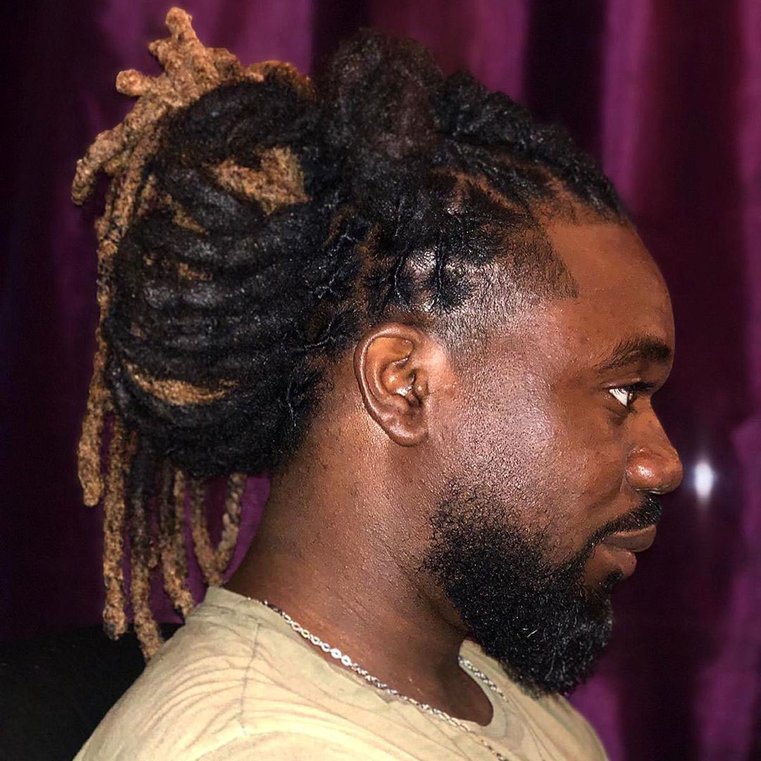 Taper Fade with Dreads Afro Haircut for Men - side view
