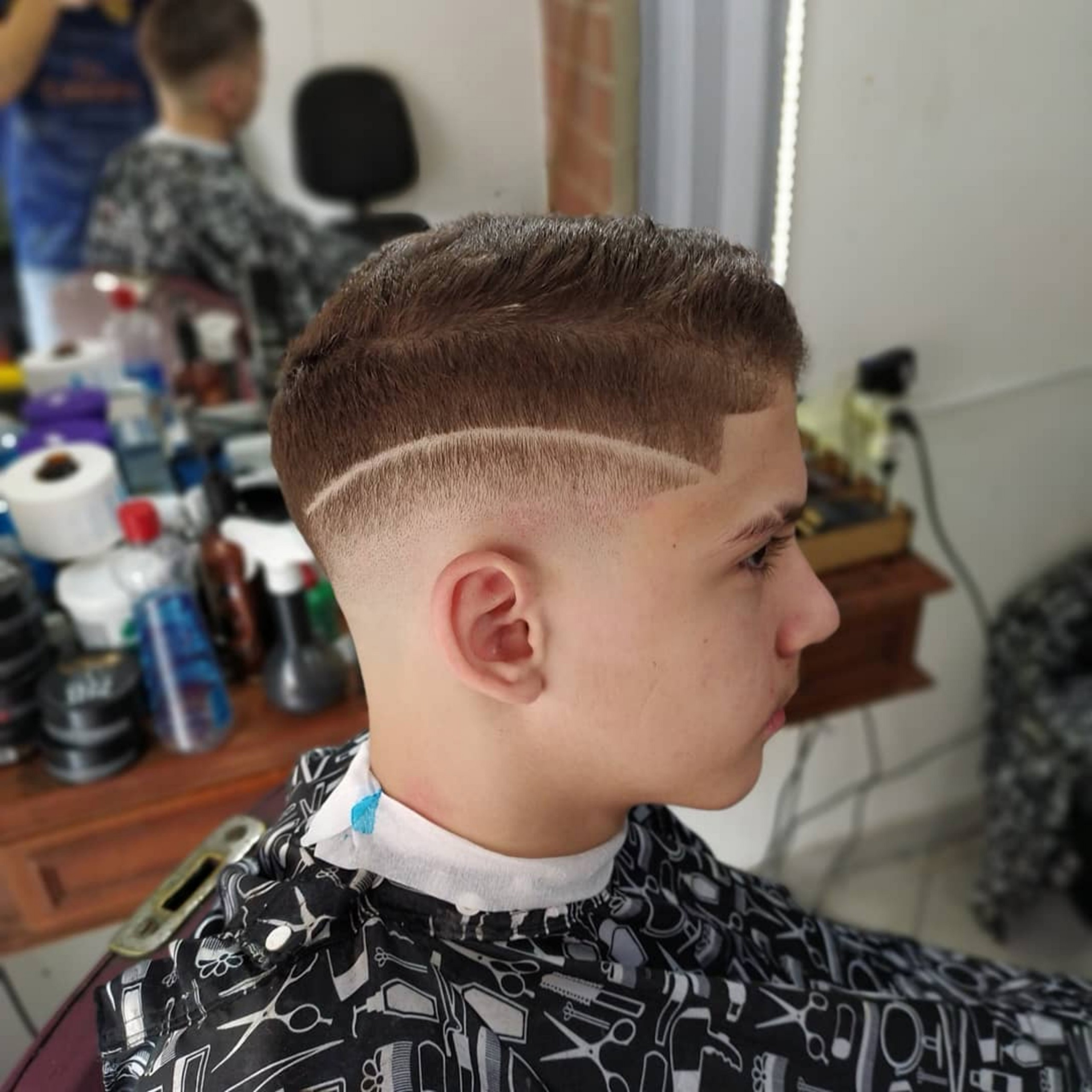 A skin-faded haircut for boys.