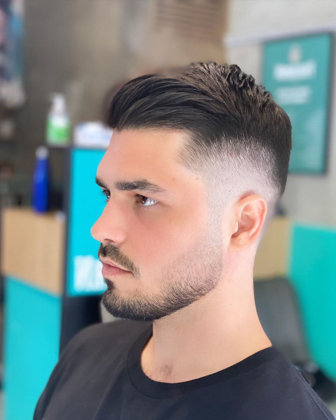 High Fade + Side Part