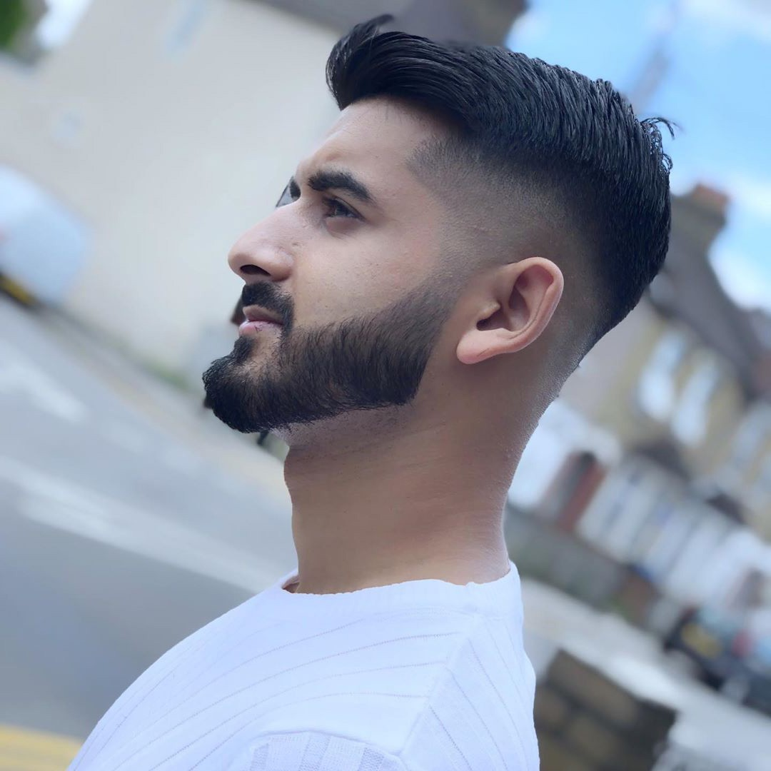 High Fade with Quiff and Full Beard