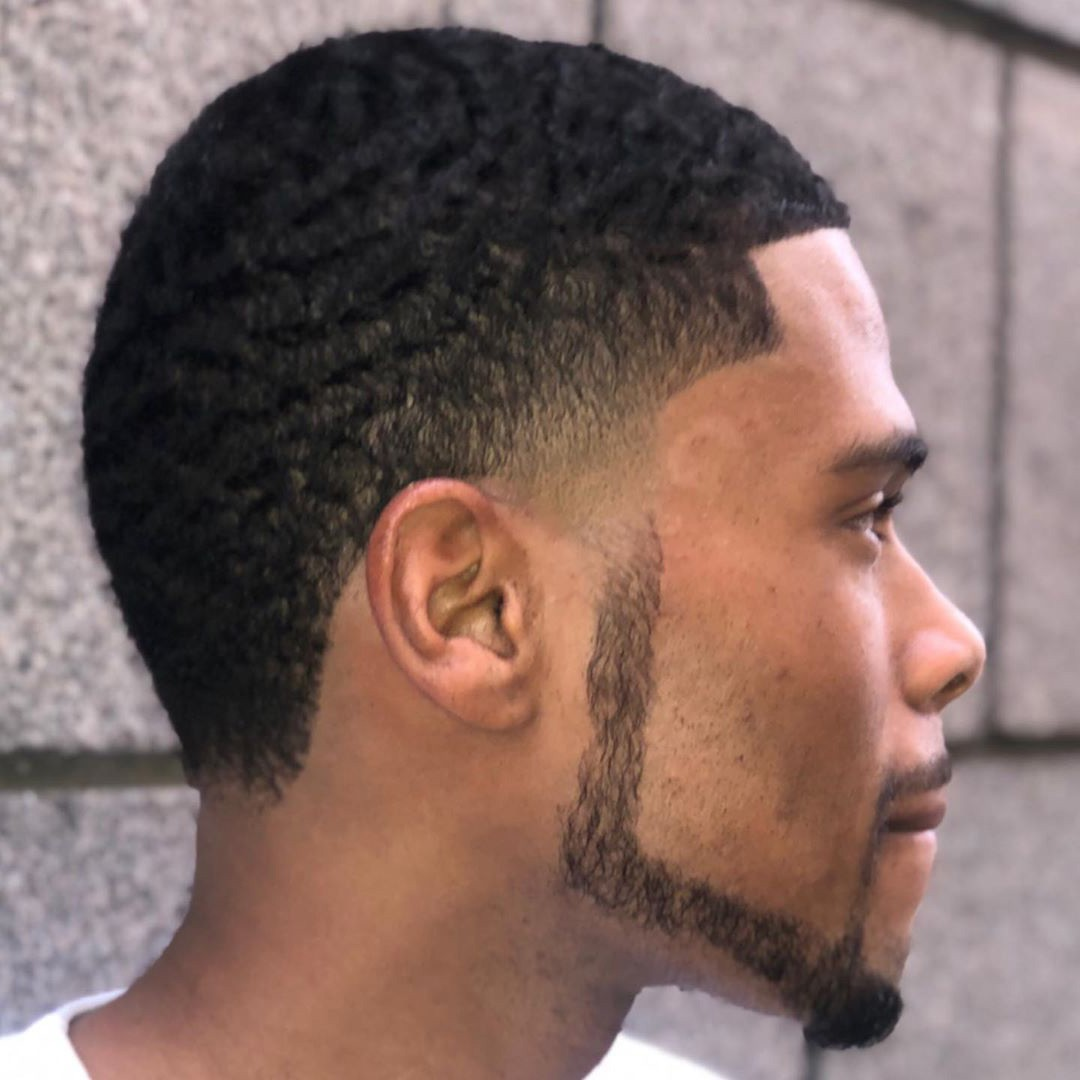 A Temple Fade Haircut for Black Men.
