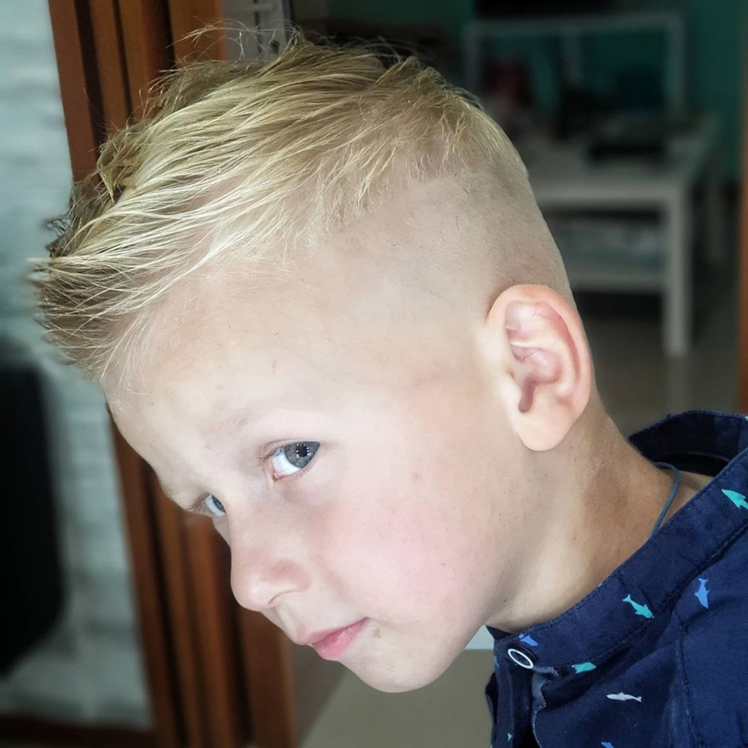 A bald-faded haircut for white boys.