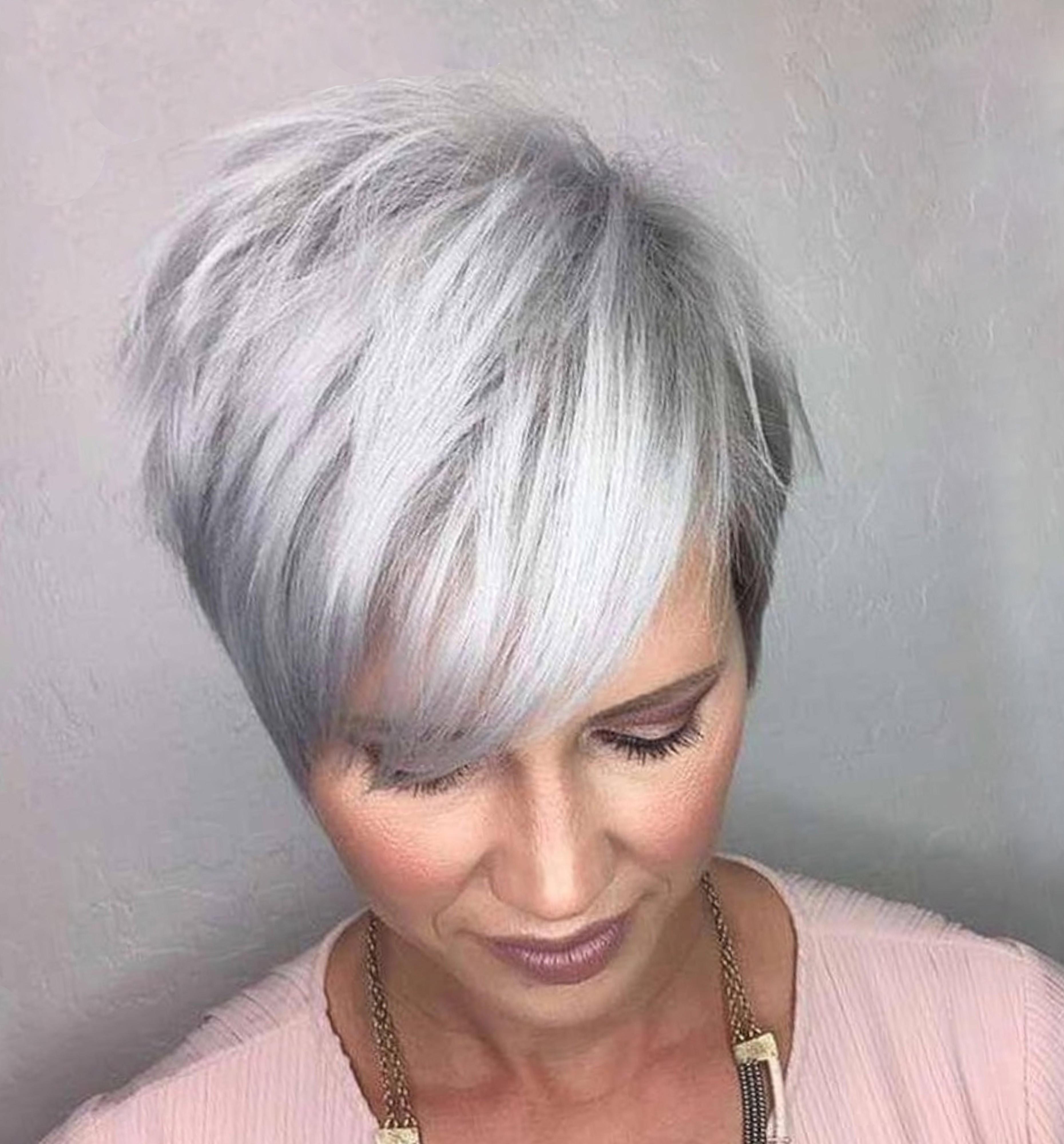 A silver pixie hair style.