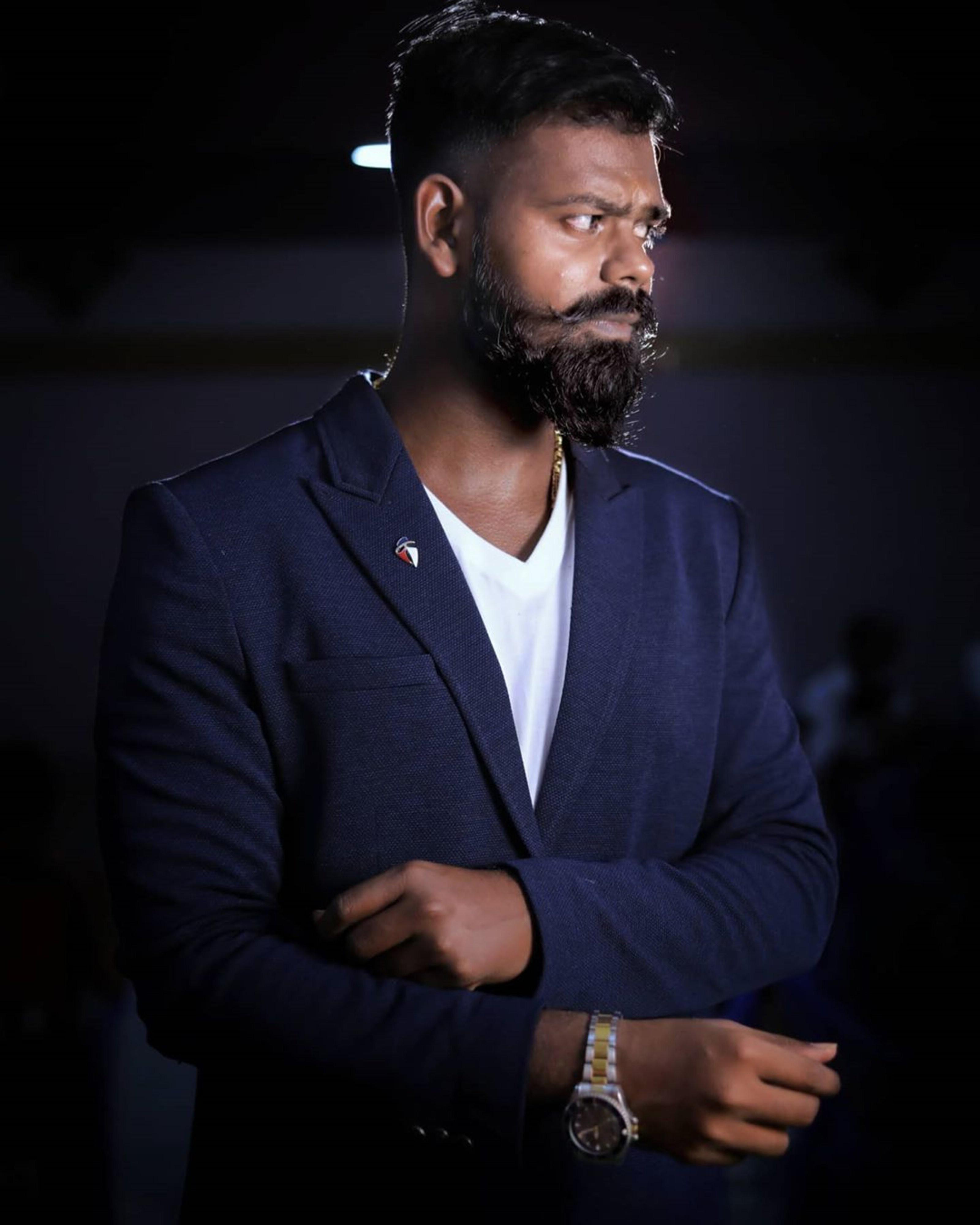 Cool African American handlebar mustache.