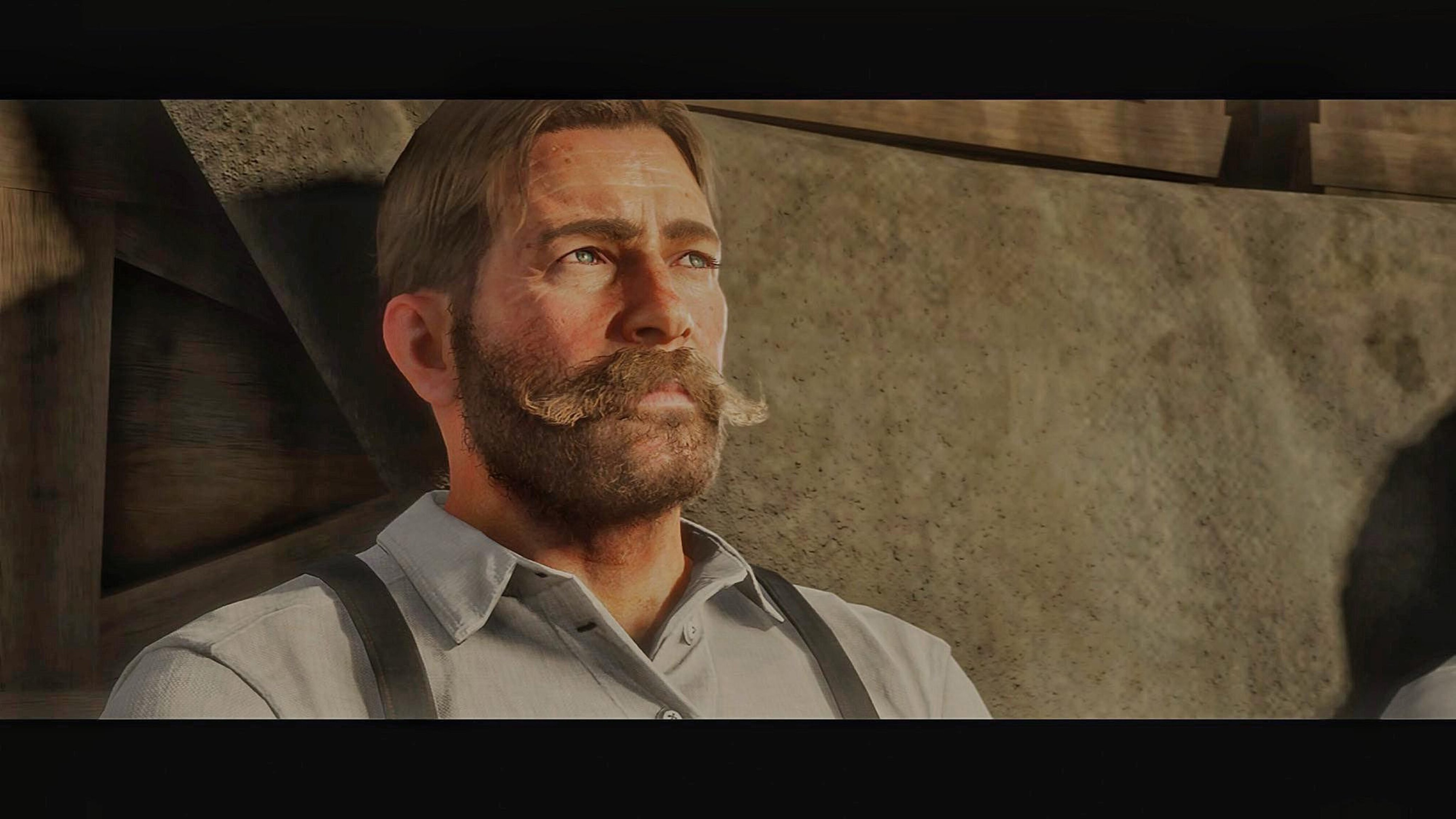 Handlebar mustache in the style of Arthur Morgan.