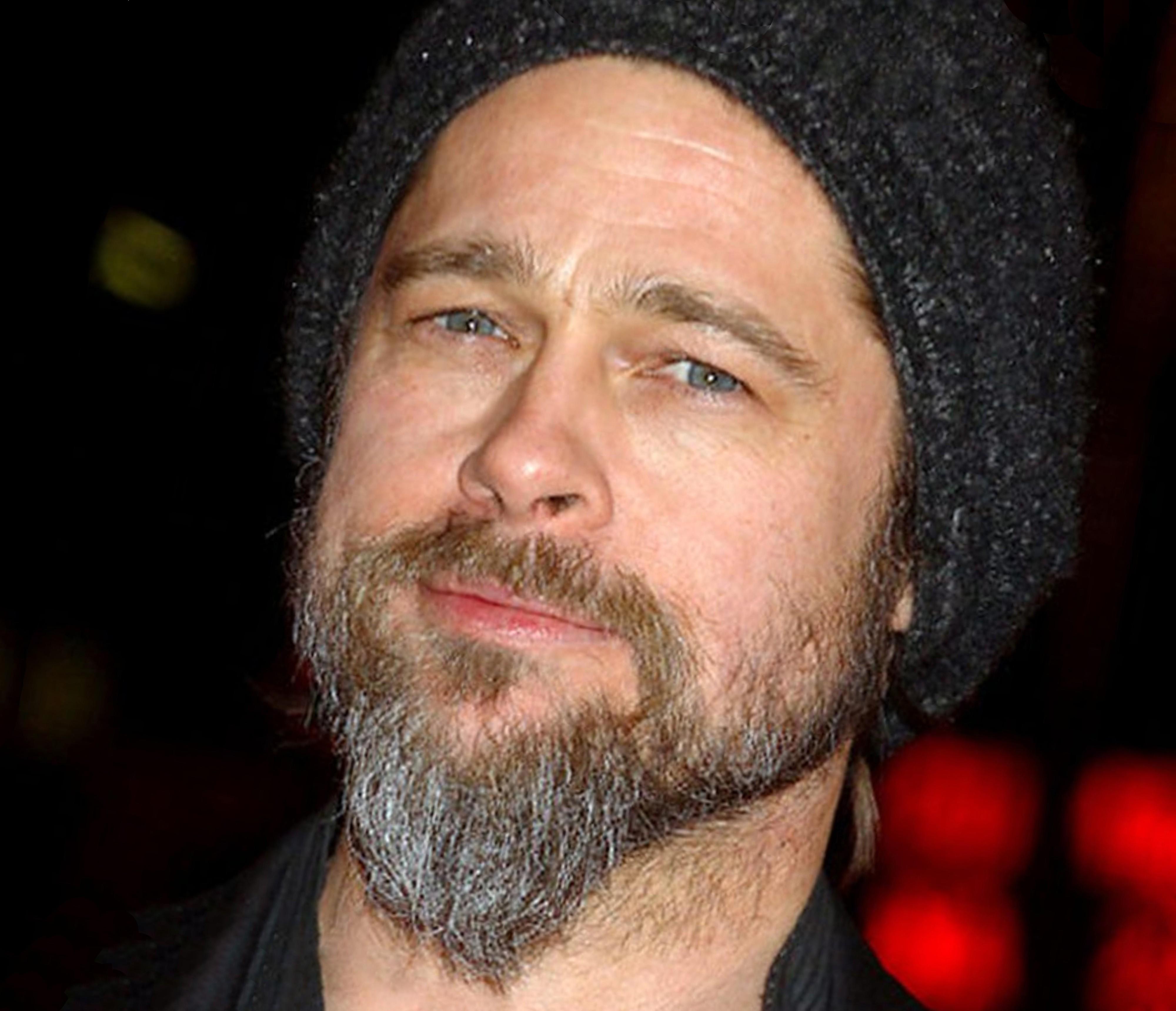 A long beard style of Brad Pitt.