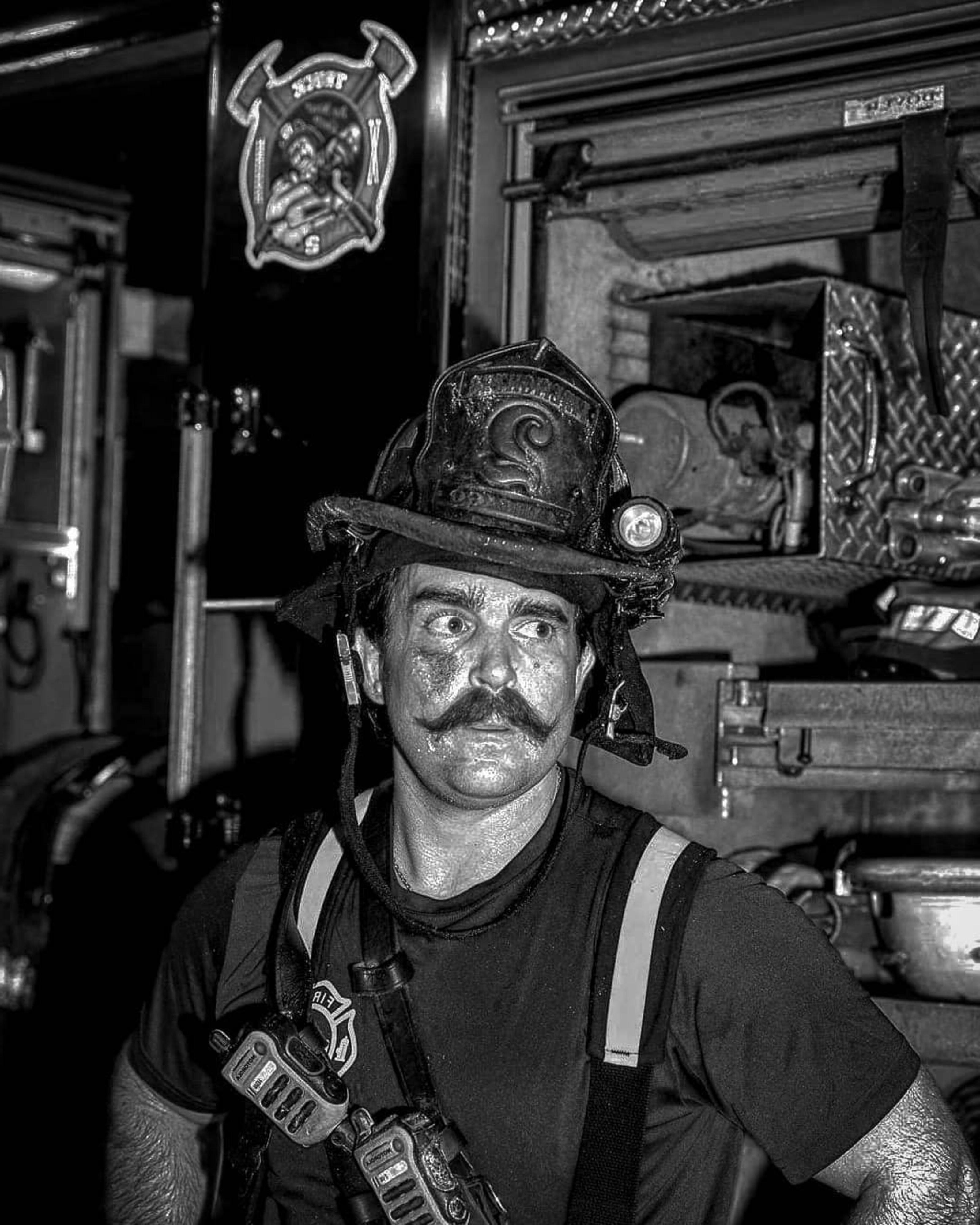 A firefighter handlebar mustache style.