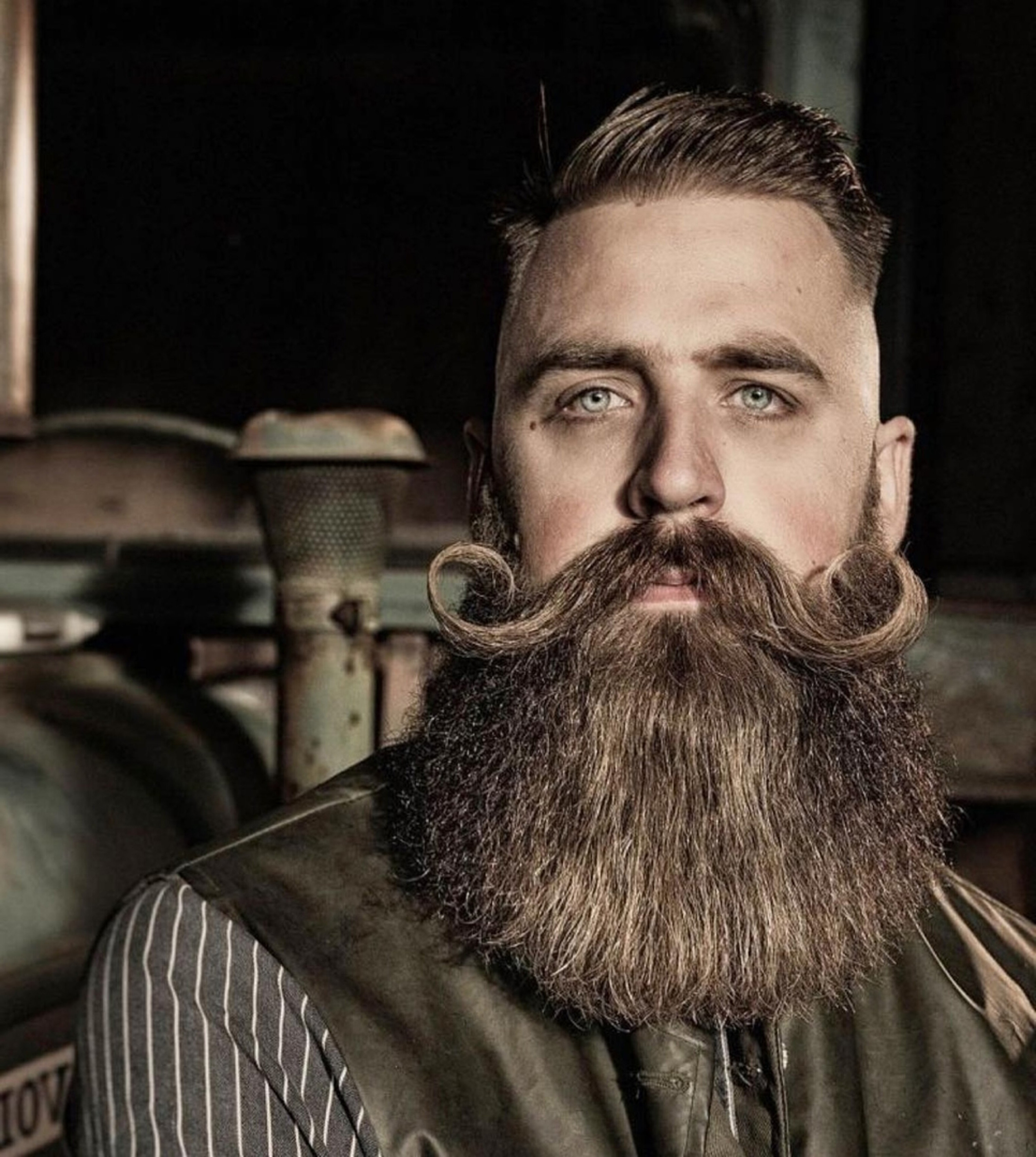A huge handlebar mustache for males.