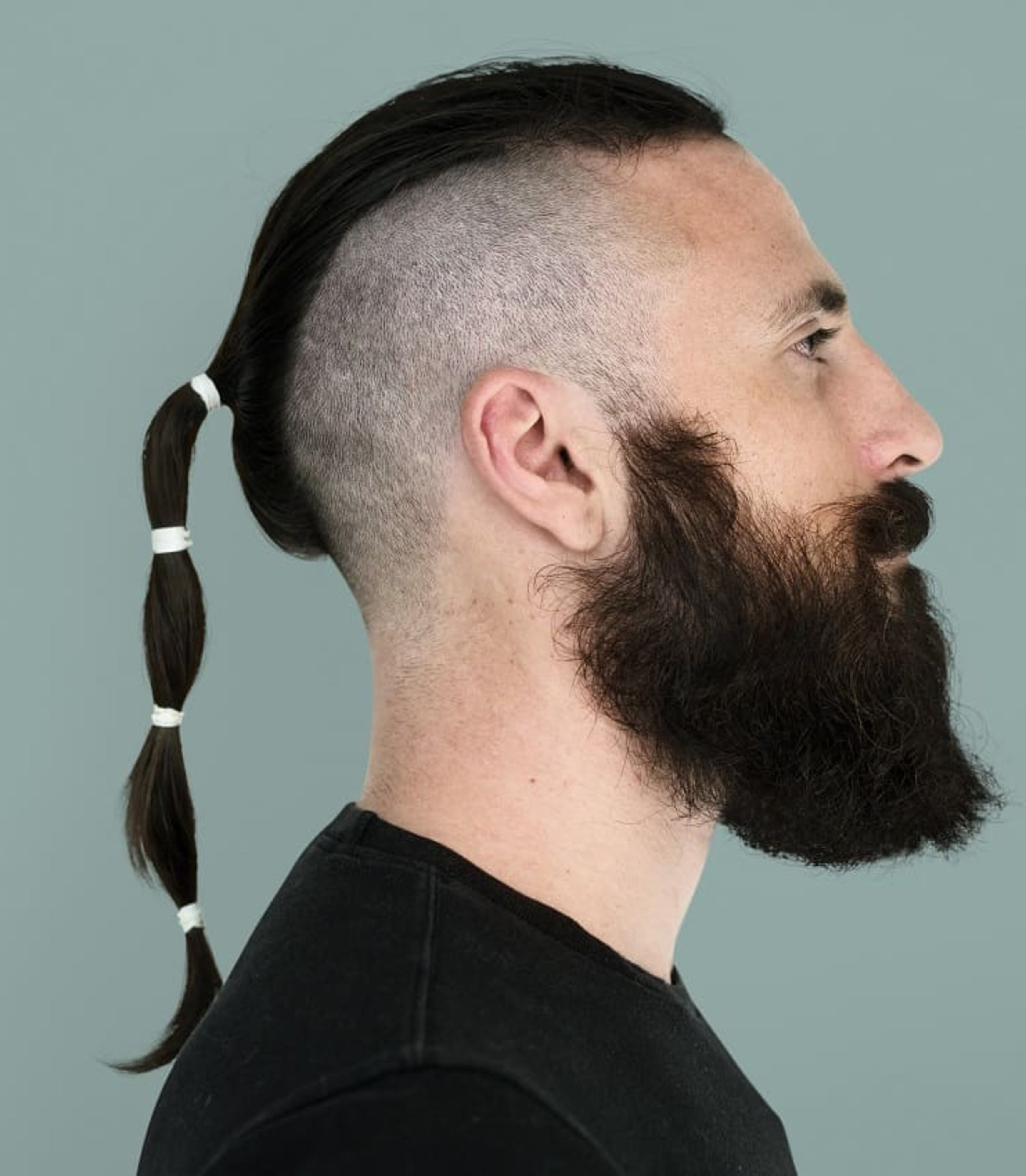 A long beard with a ponytail hairstyle.