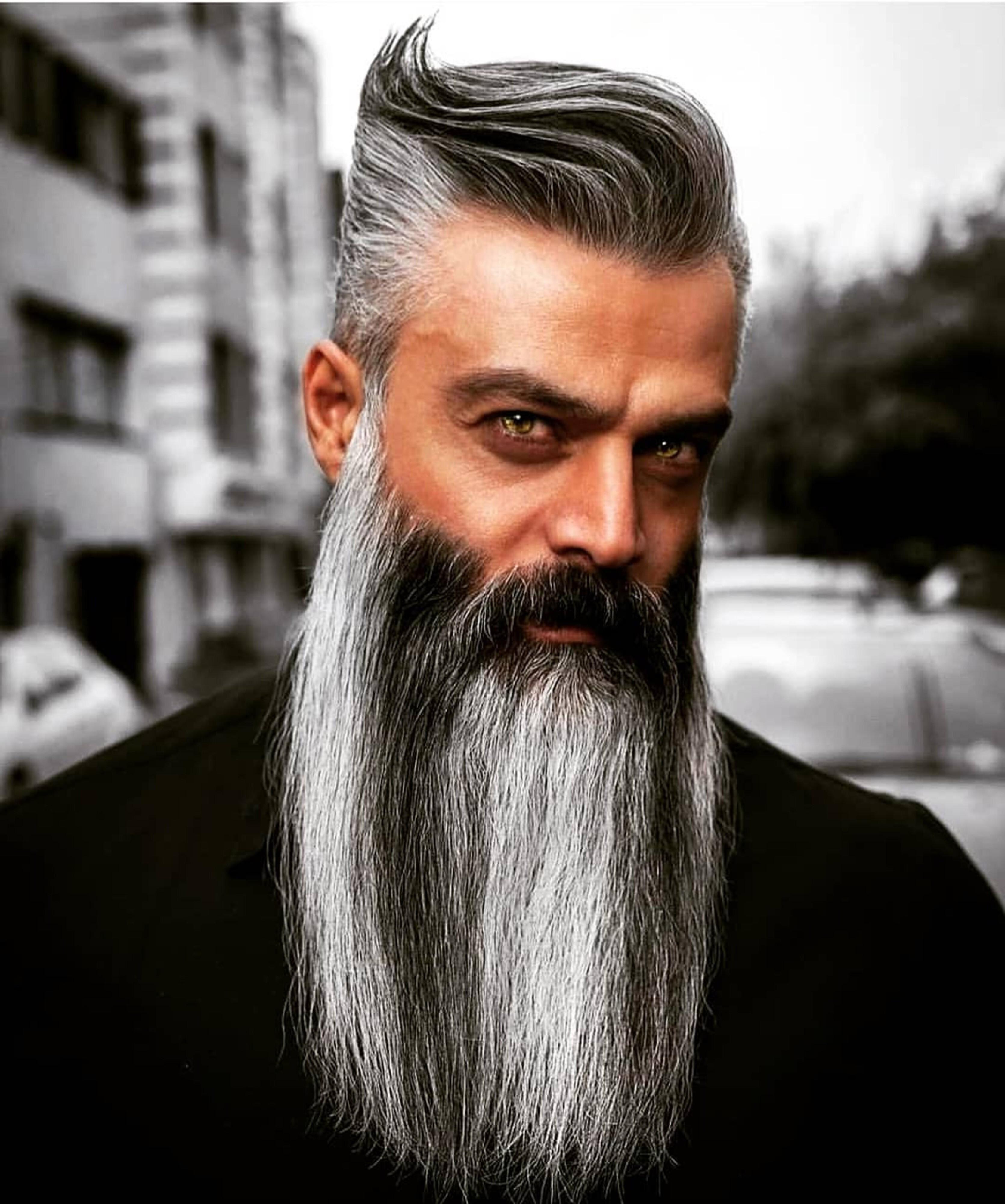 A long salt and pepper beard for trendy look.