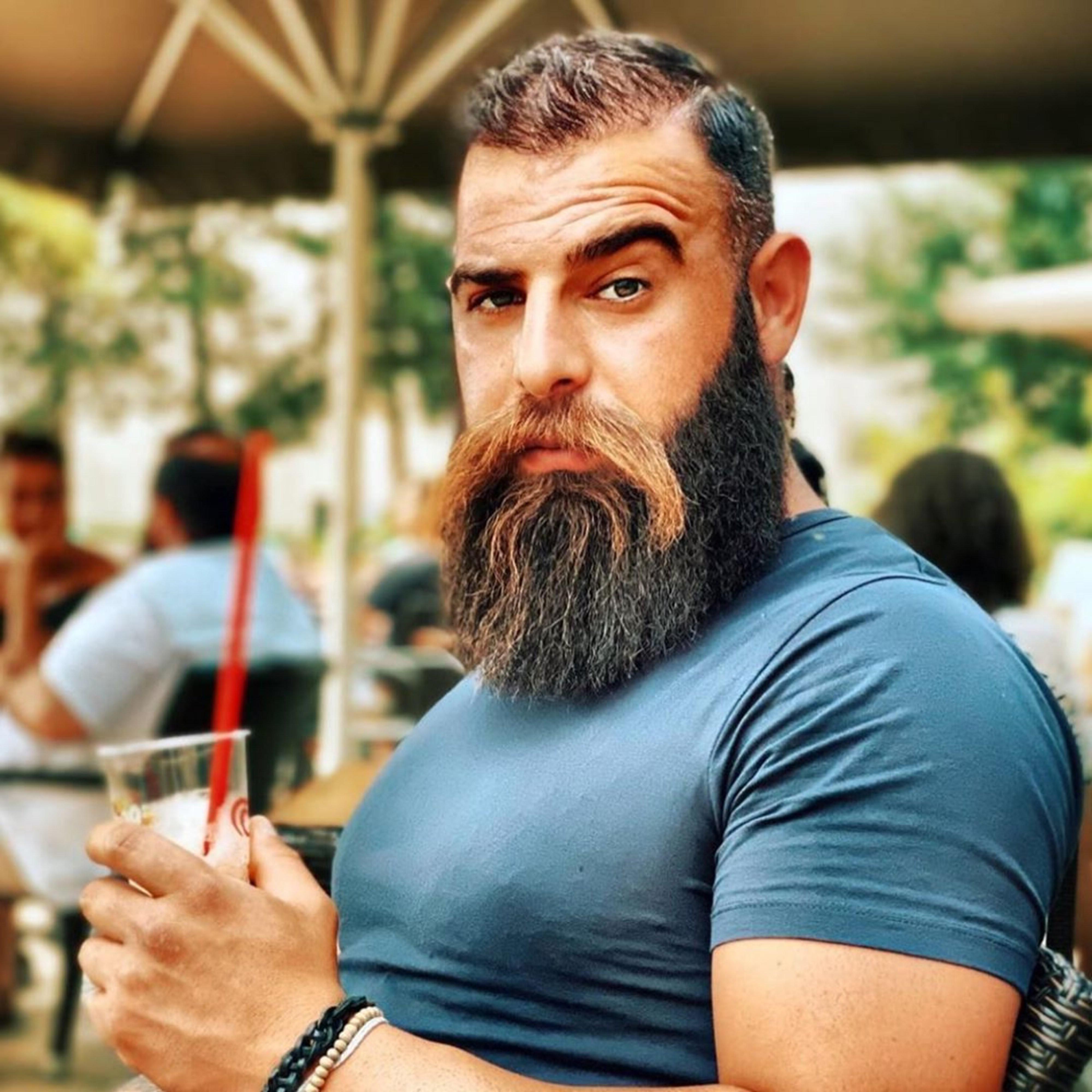 A long scraggly beard for cool men.