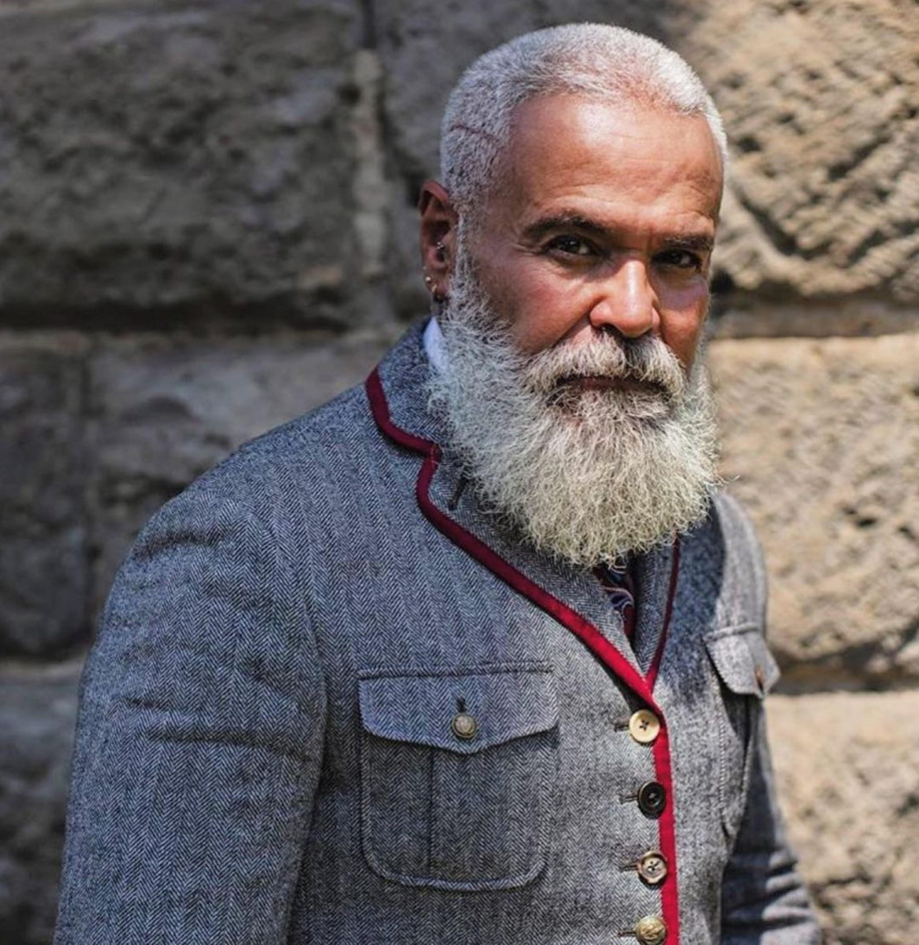 A long beard style for elderly men.