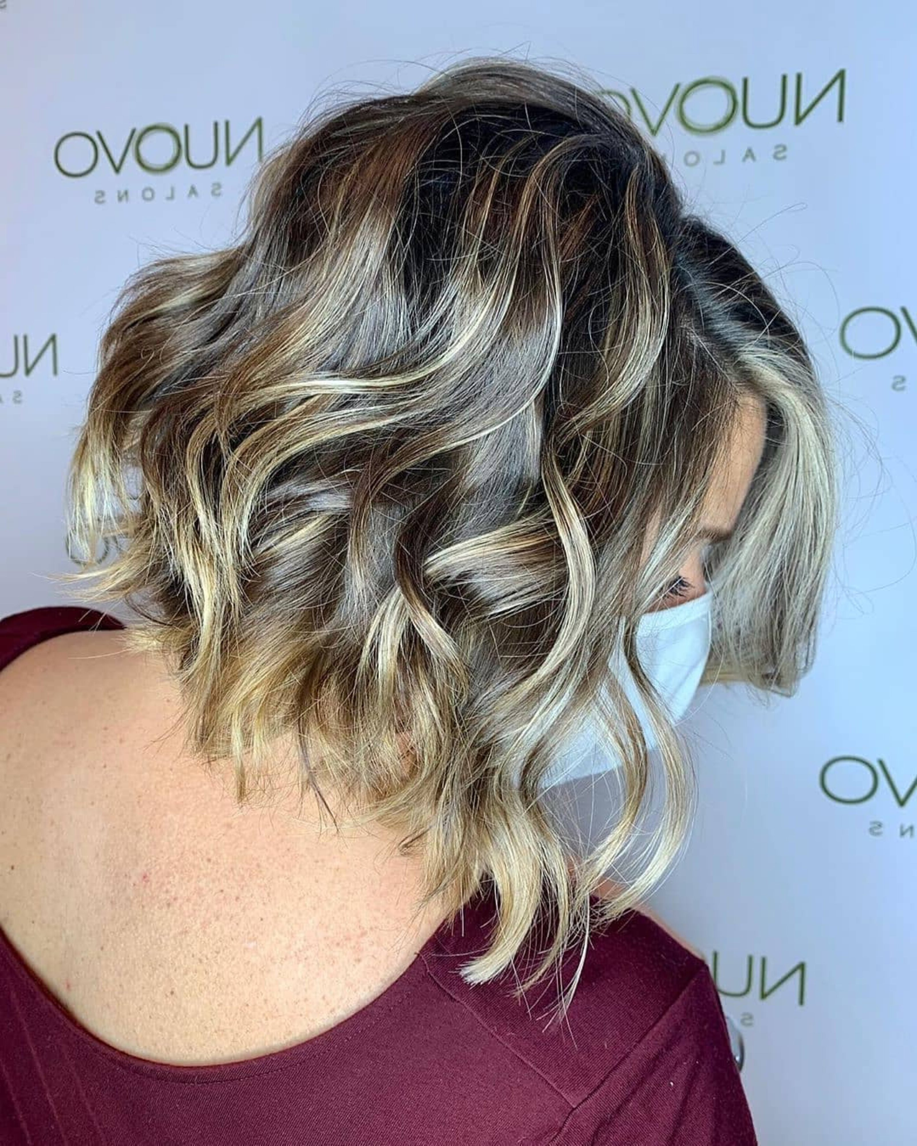A shaggy bob haircut with impressive highlights.