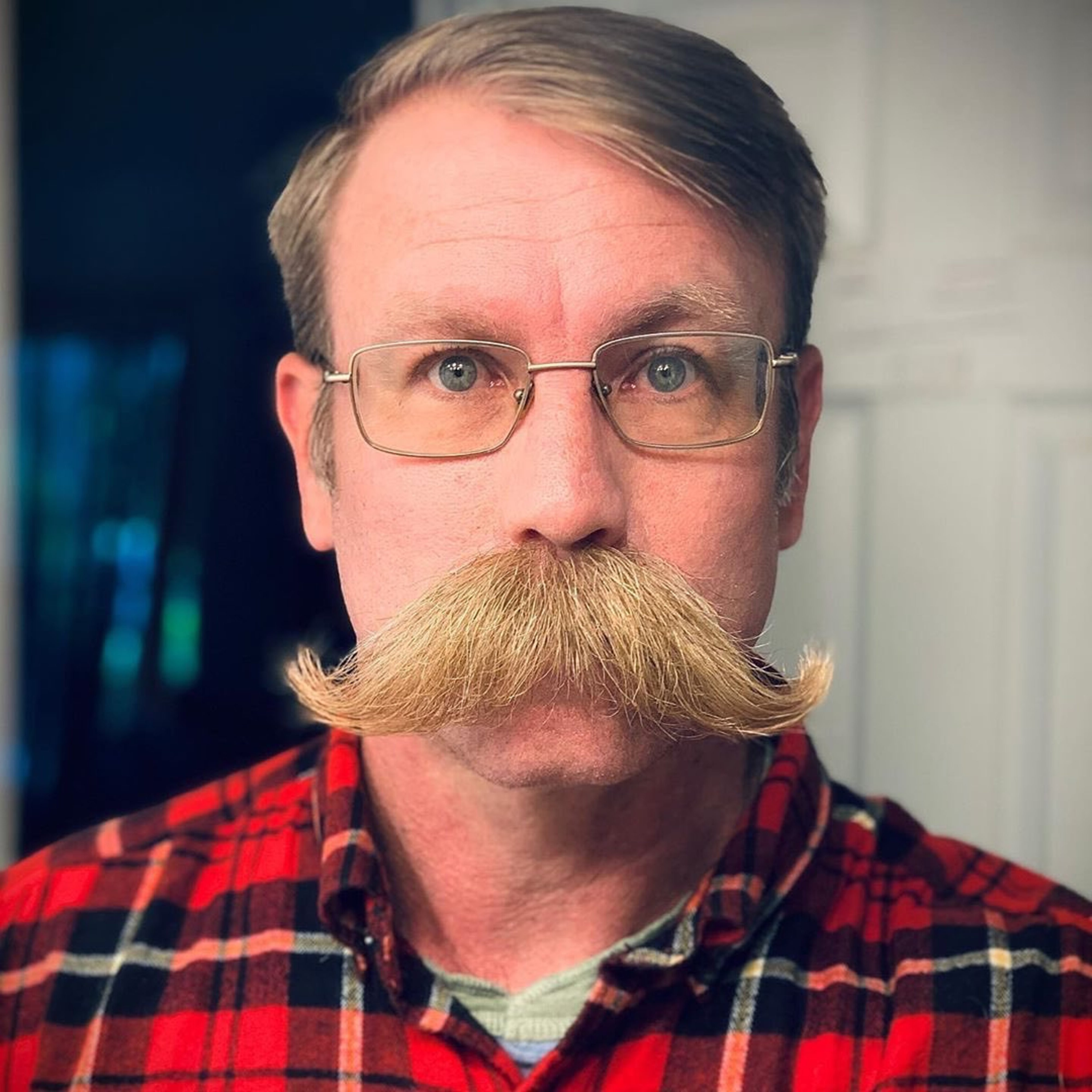 Walrus handlebar mustache for men.