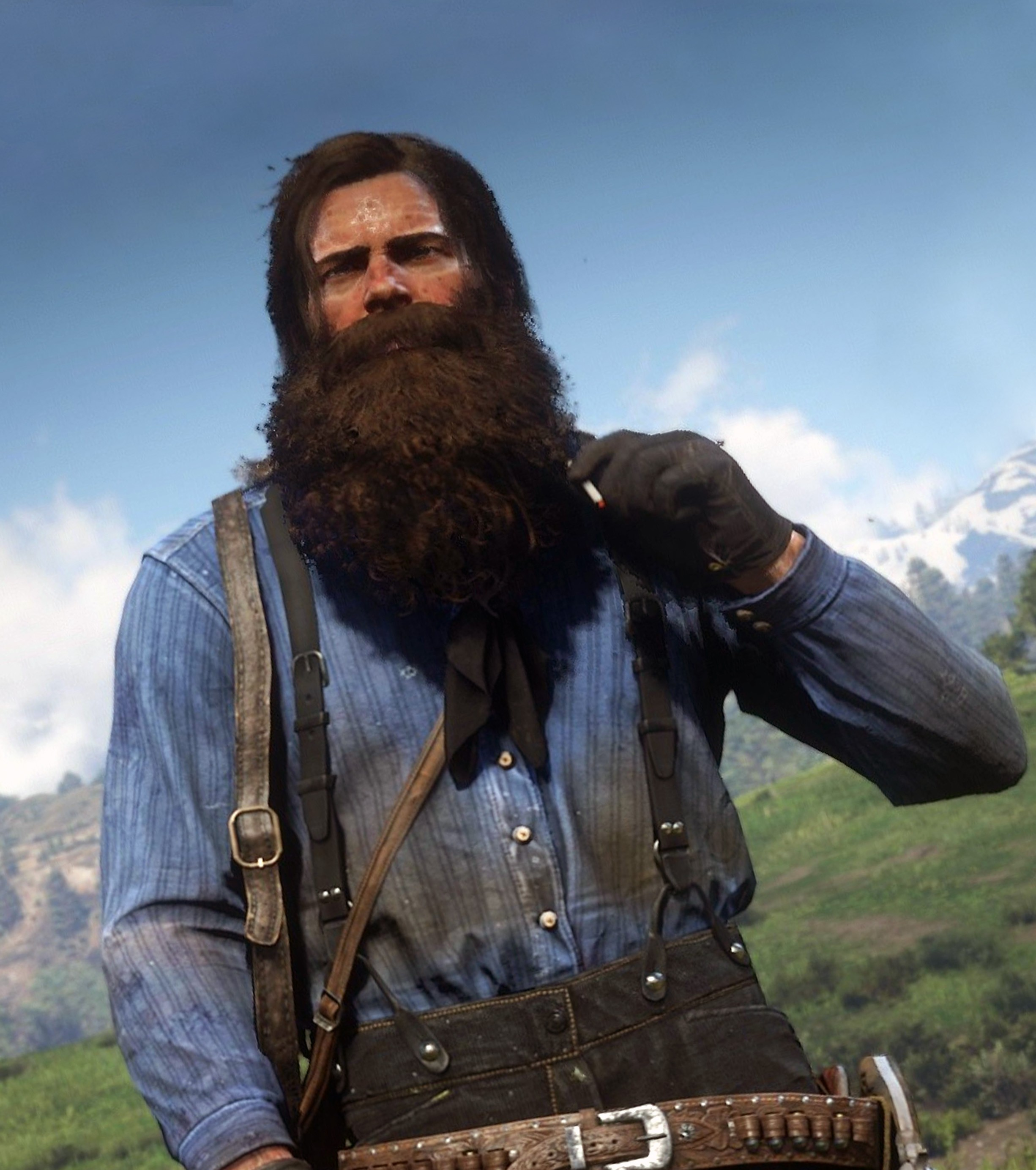 A full beard of Arthur Morgan.