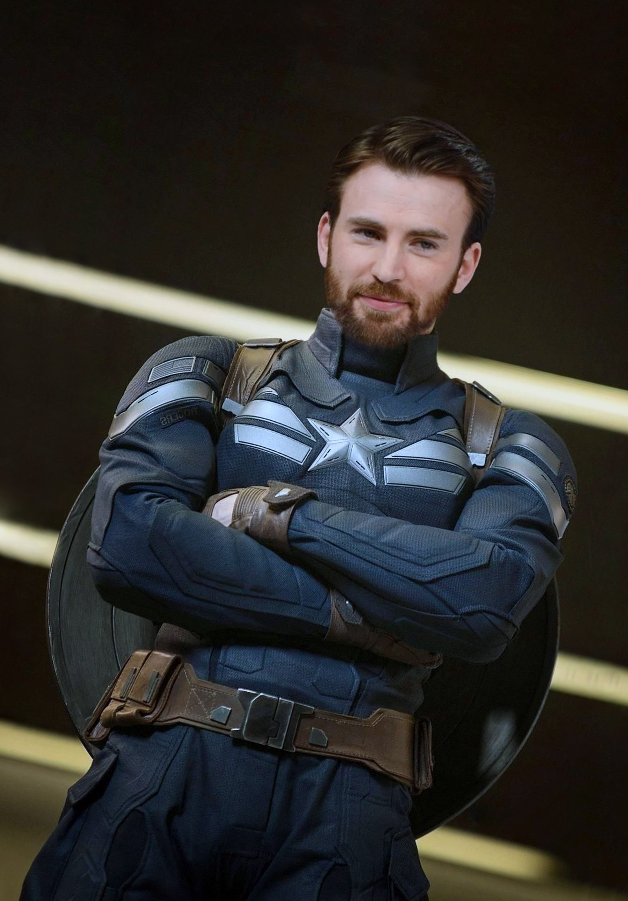 A full beard in the style of Captain America.