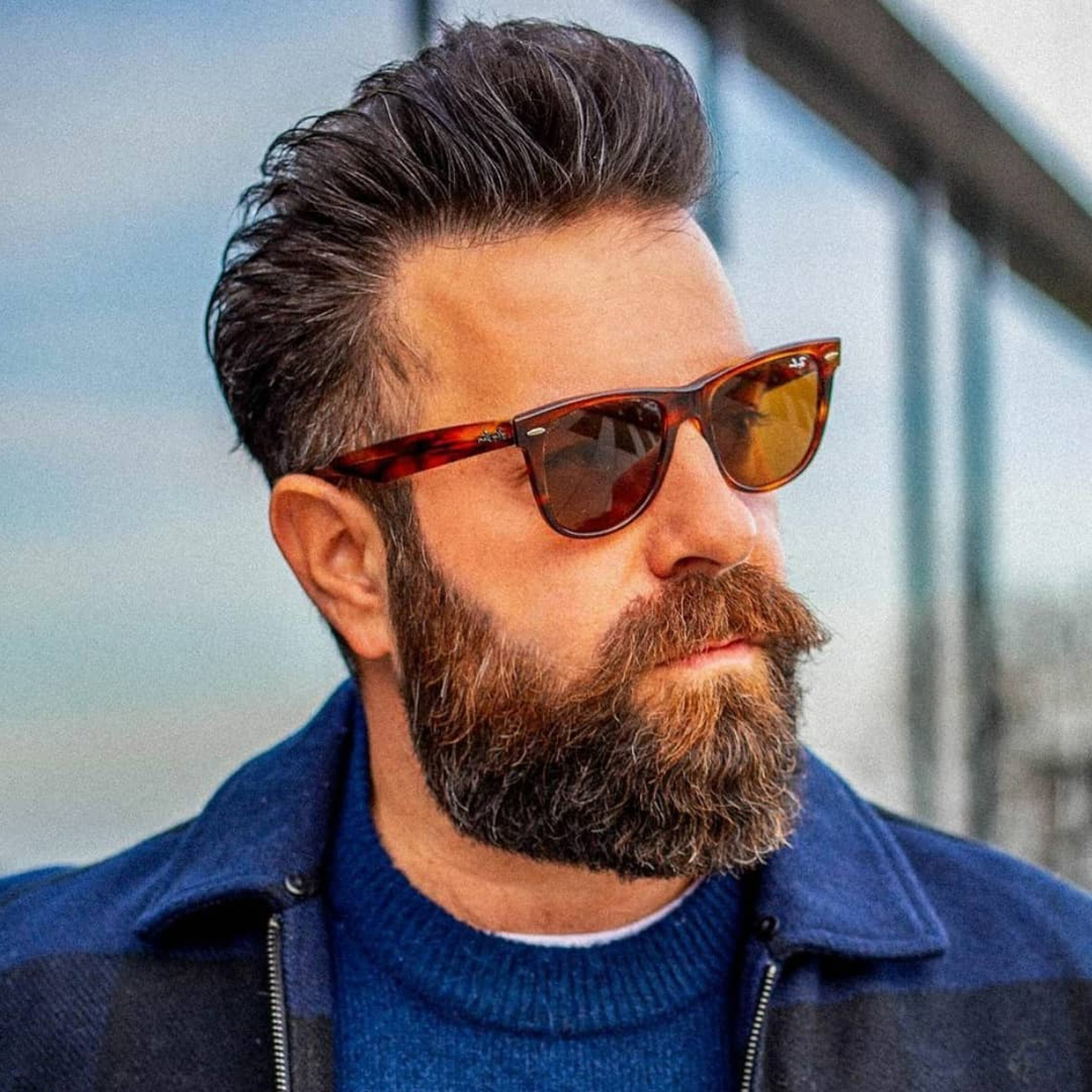 A classic short beard style for males.