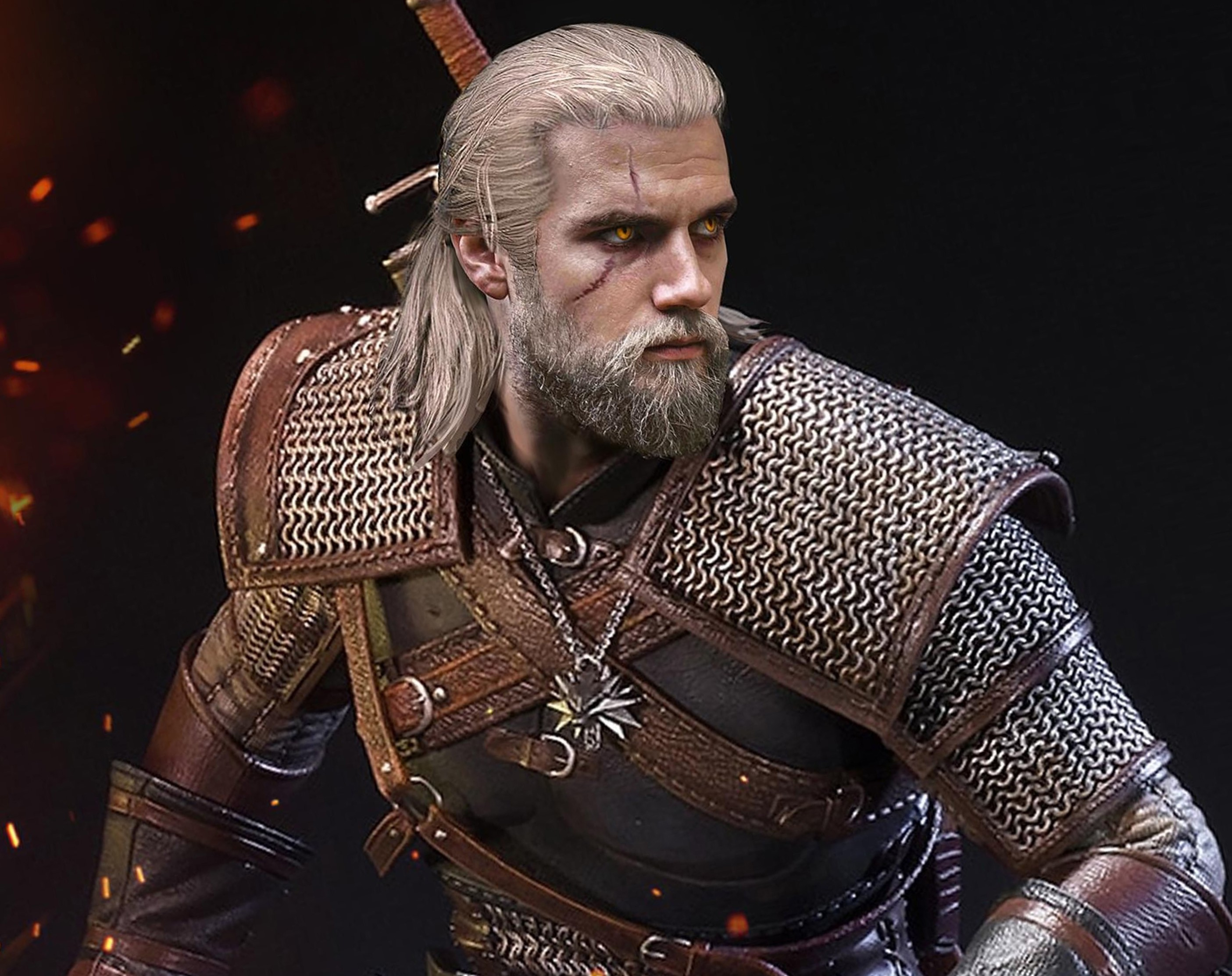 A full beard of Geralt.