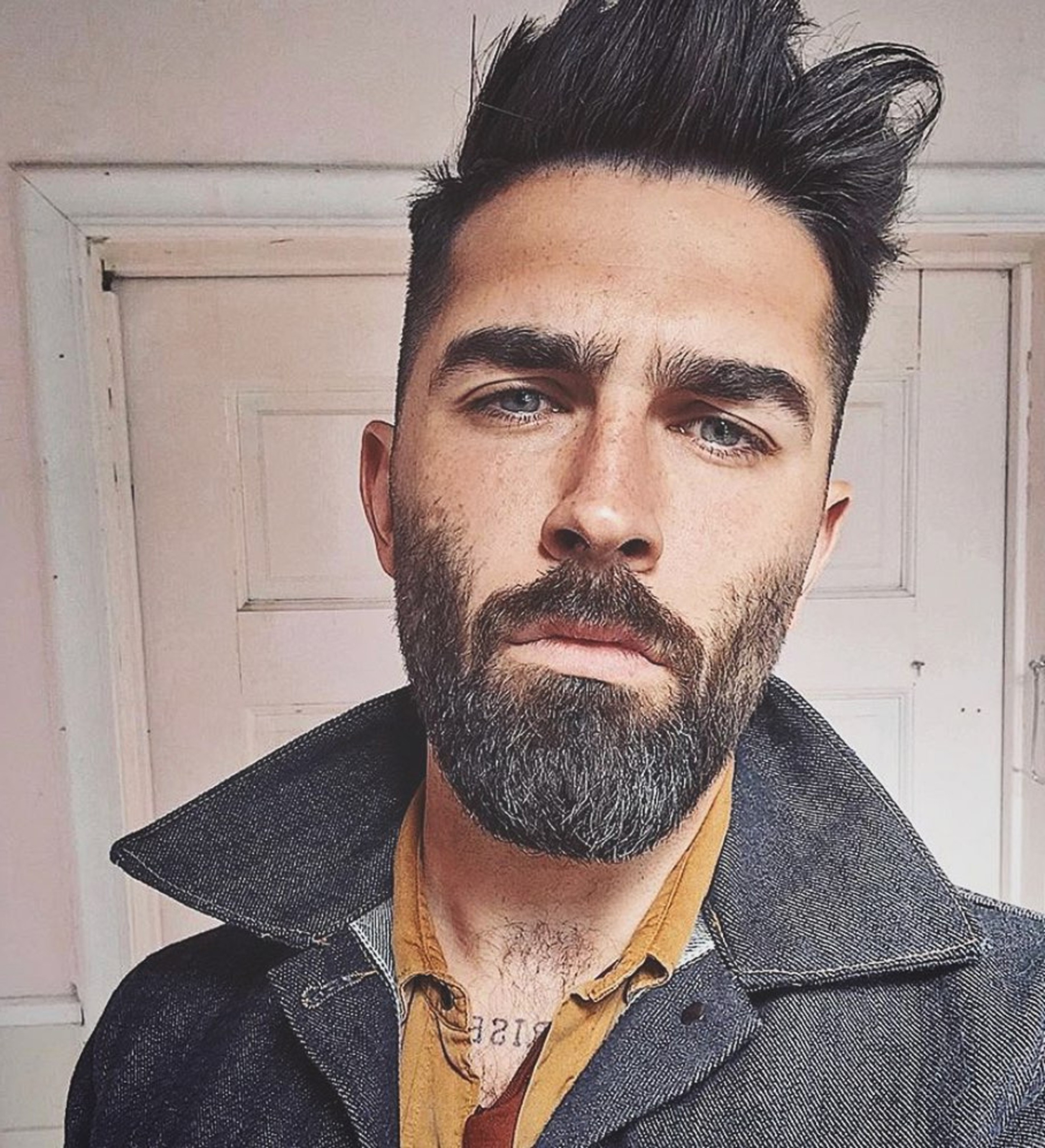 A well-kept short beard for men.