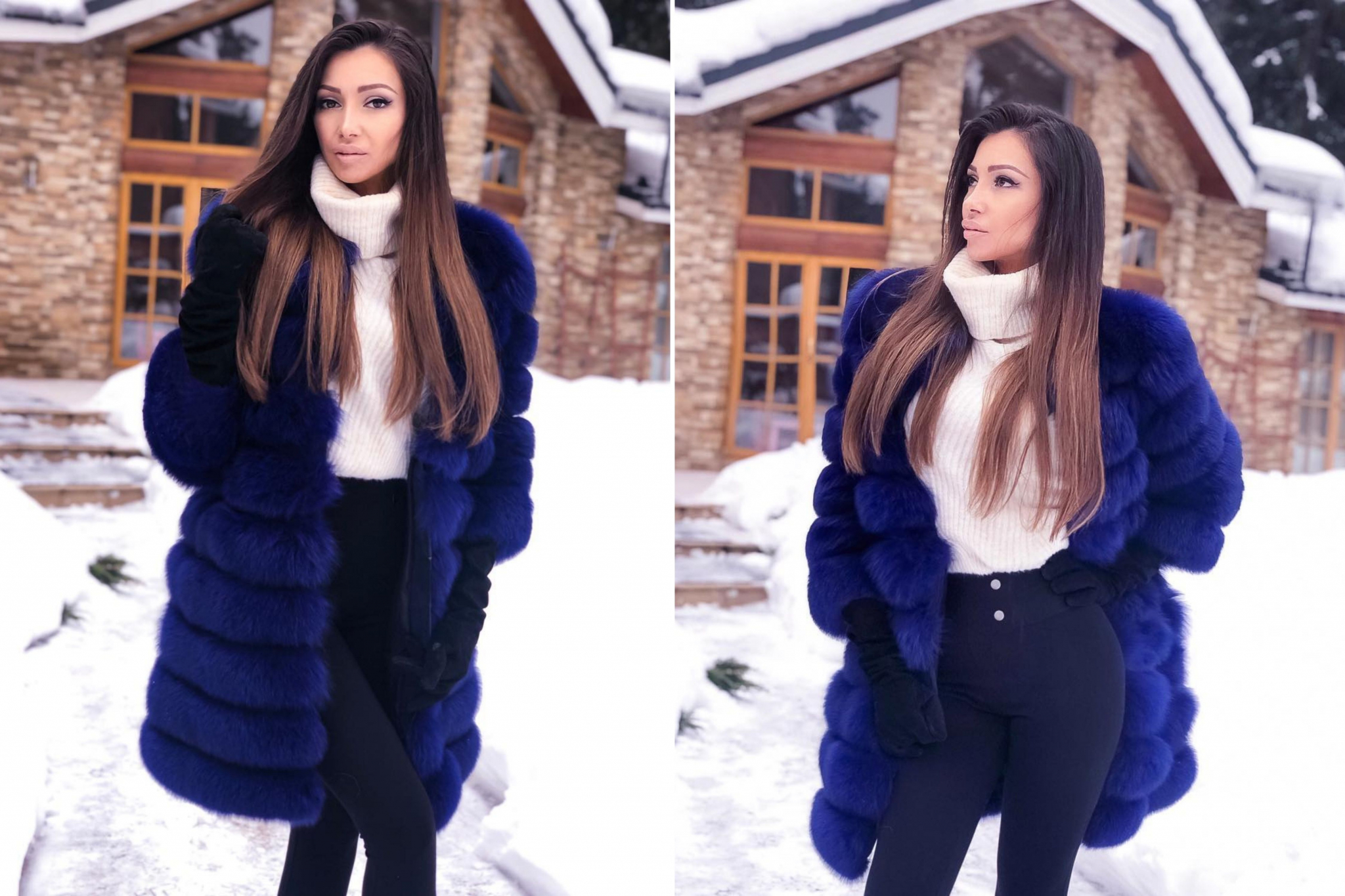 Julia Kashirova with winter long haircut near the house