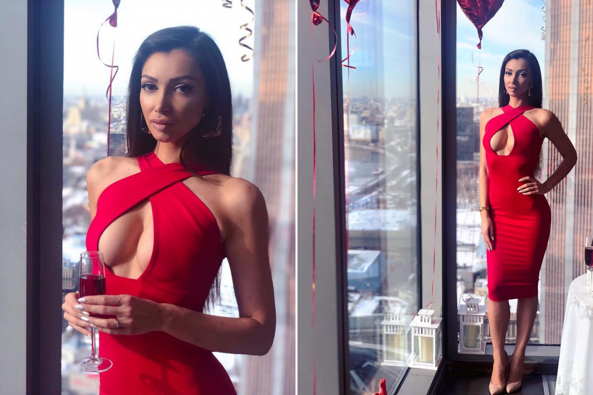Julia in red in the Moscow City skyscraper