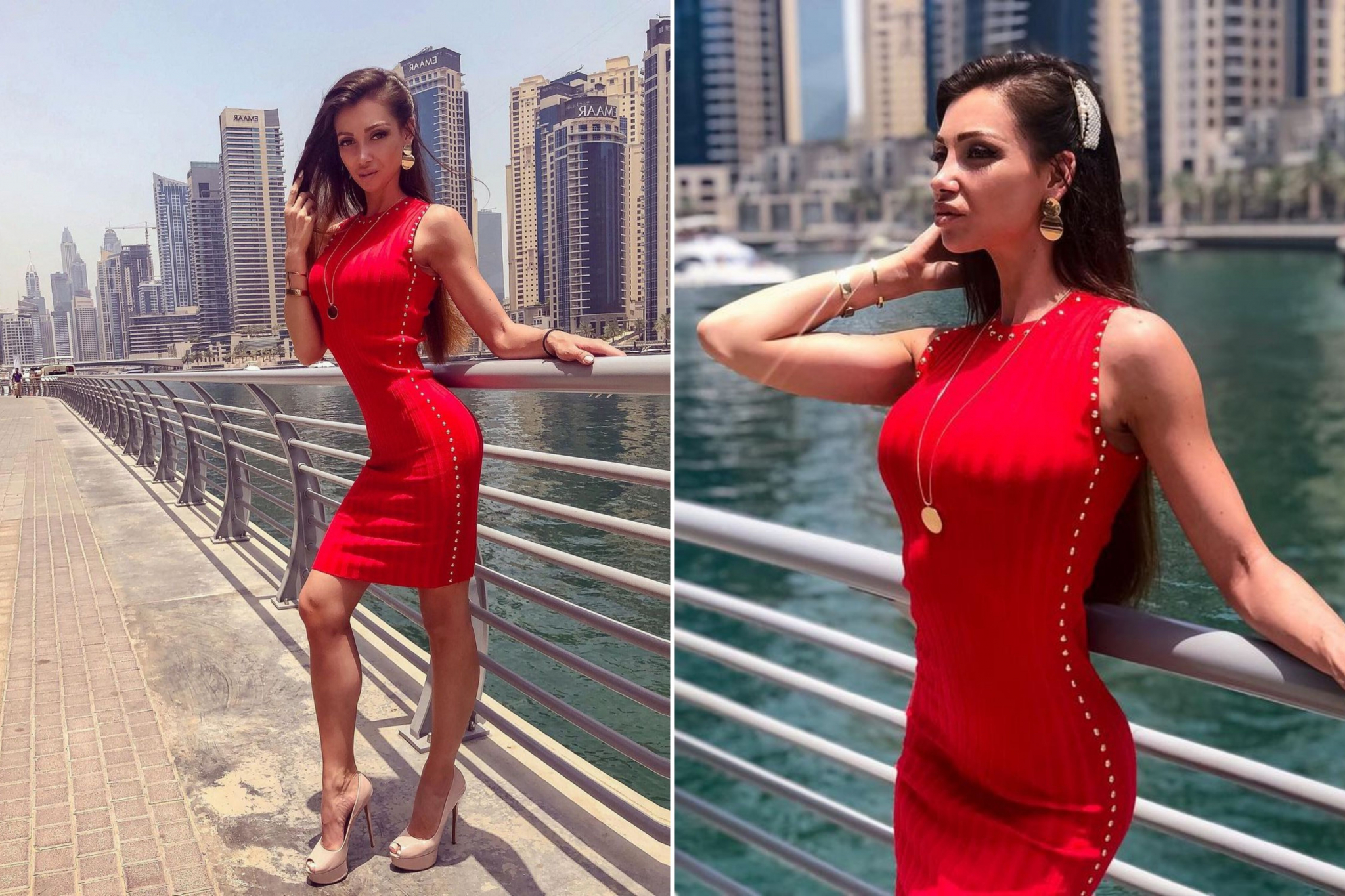 Julia in the red dress with long hairstyle