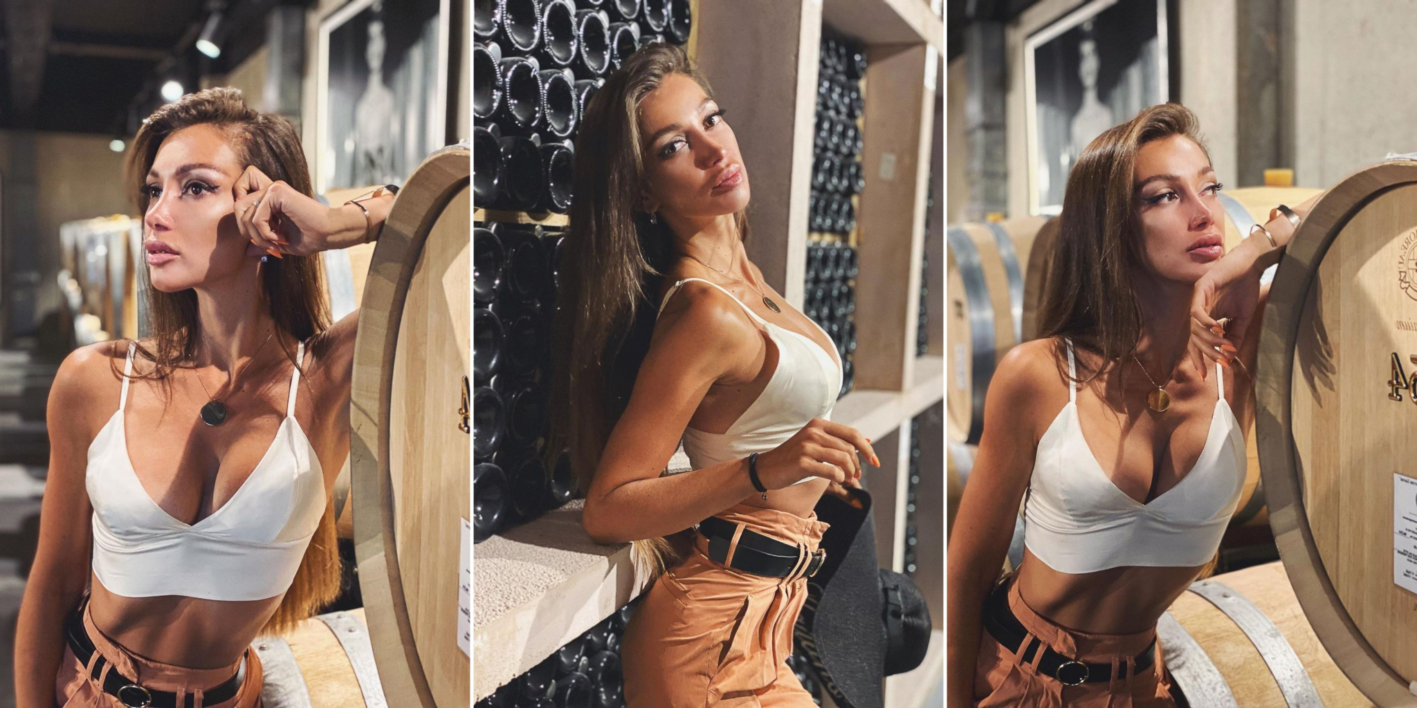 Julia in the wine vault with long hairstyle