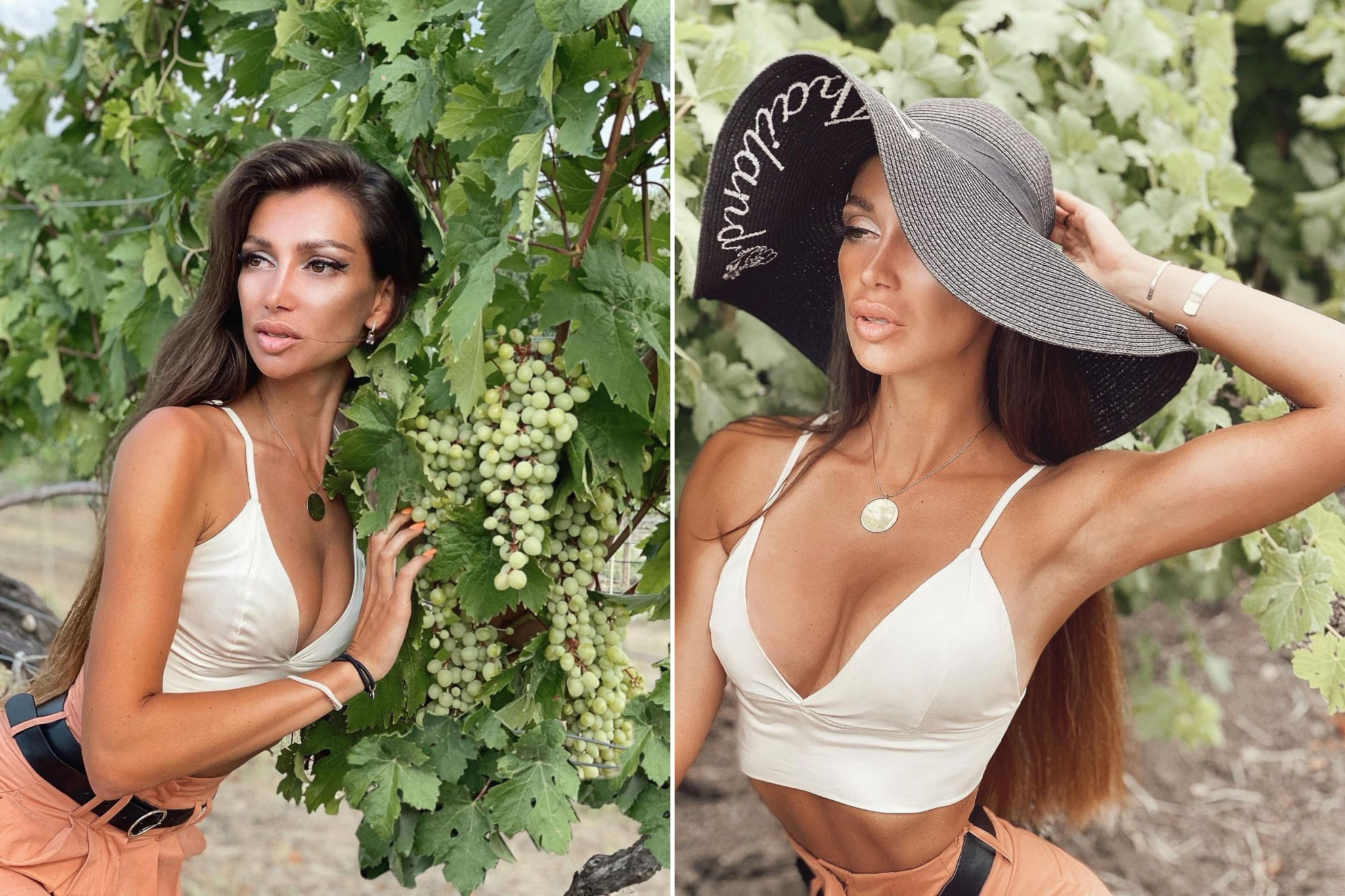 Julia with a big hat and romantic long hairstyle near the grape