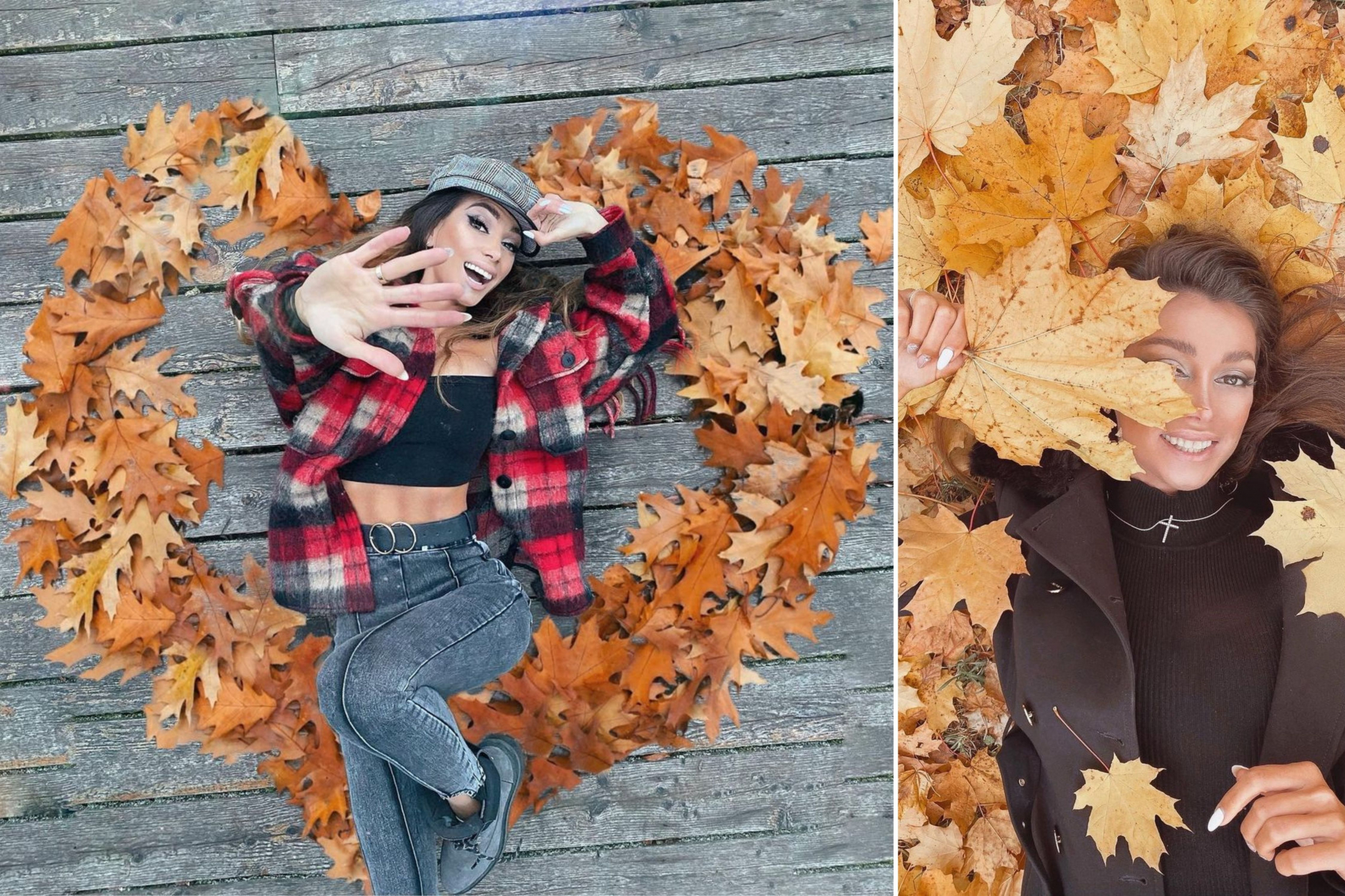Julia with long wavy brown hair and heart of fallen maple leaves