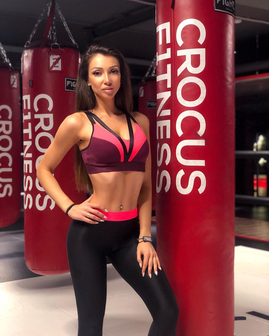 Julia with sporting long hairstyle in the Crocus fitness