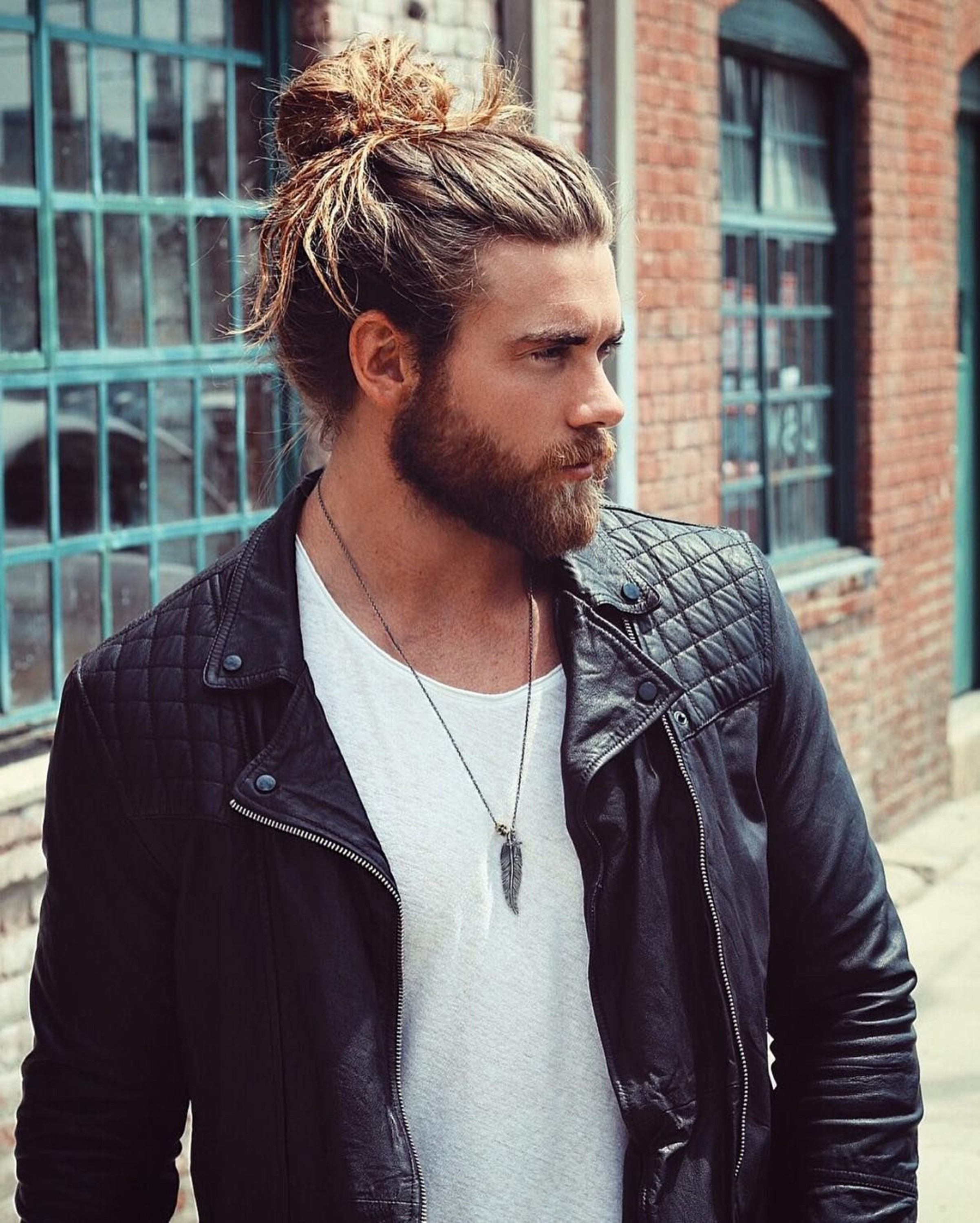 Brock O Hurn Male Bun Look.