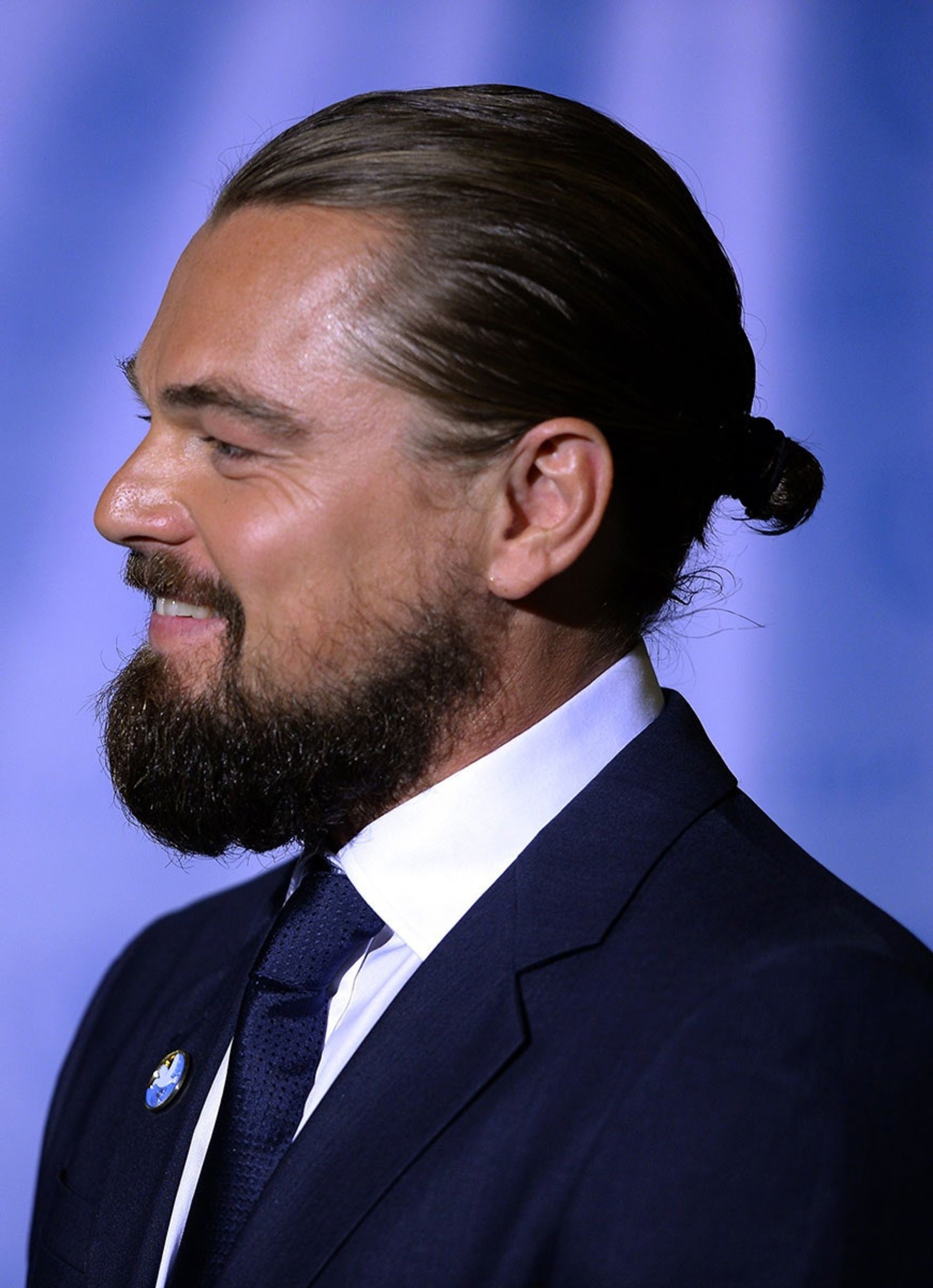 Leonardo Dicaprio with a sexy bun haircut.
